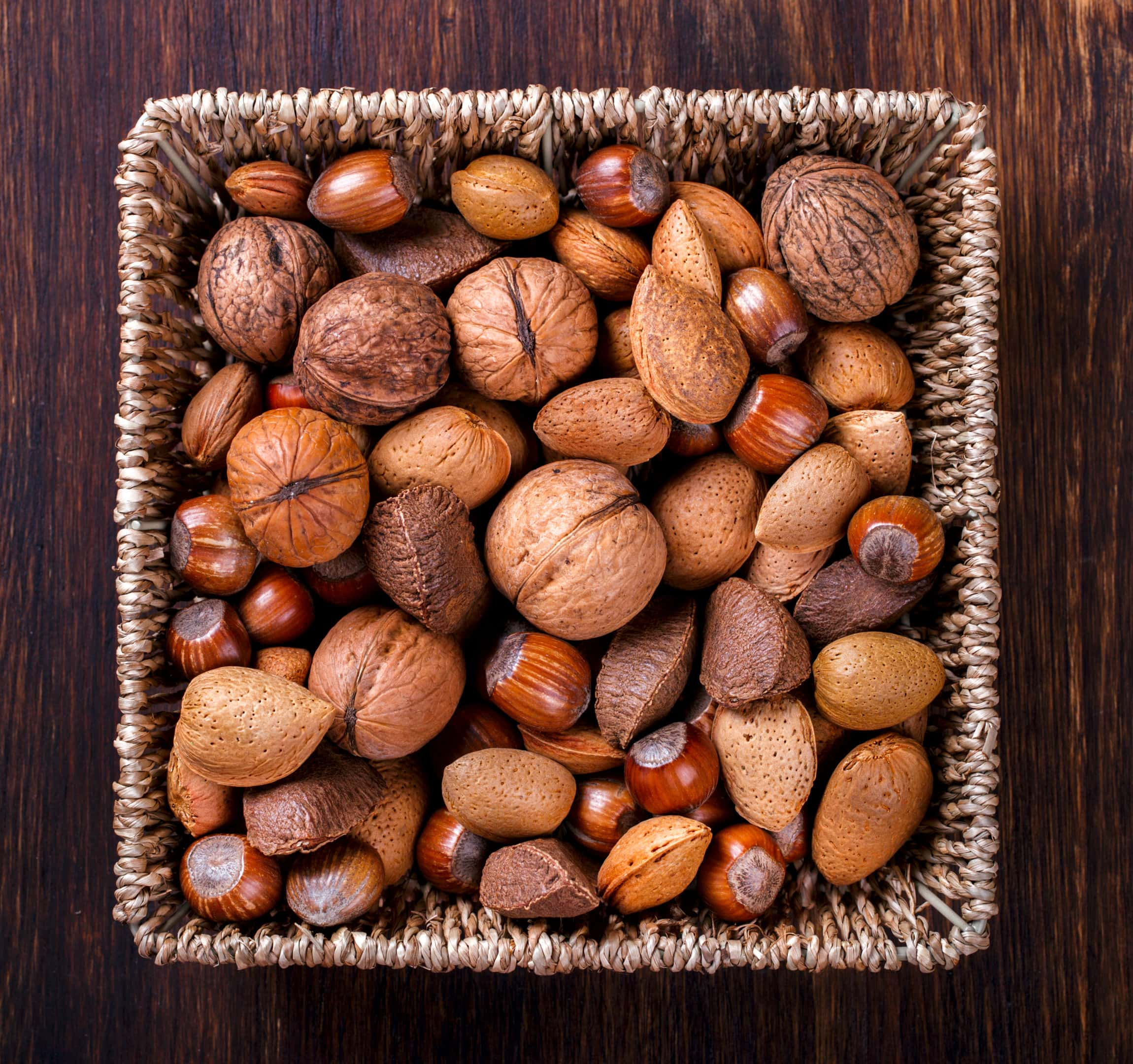 Mixed nuts basket, walnuts and brazil nuts.