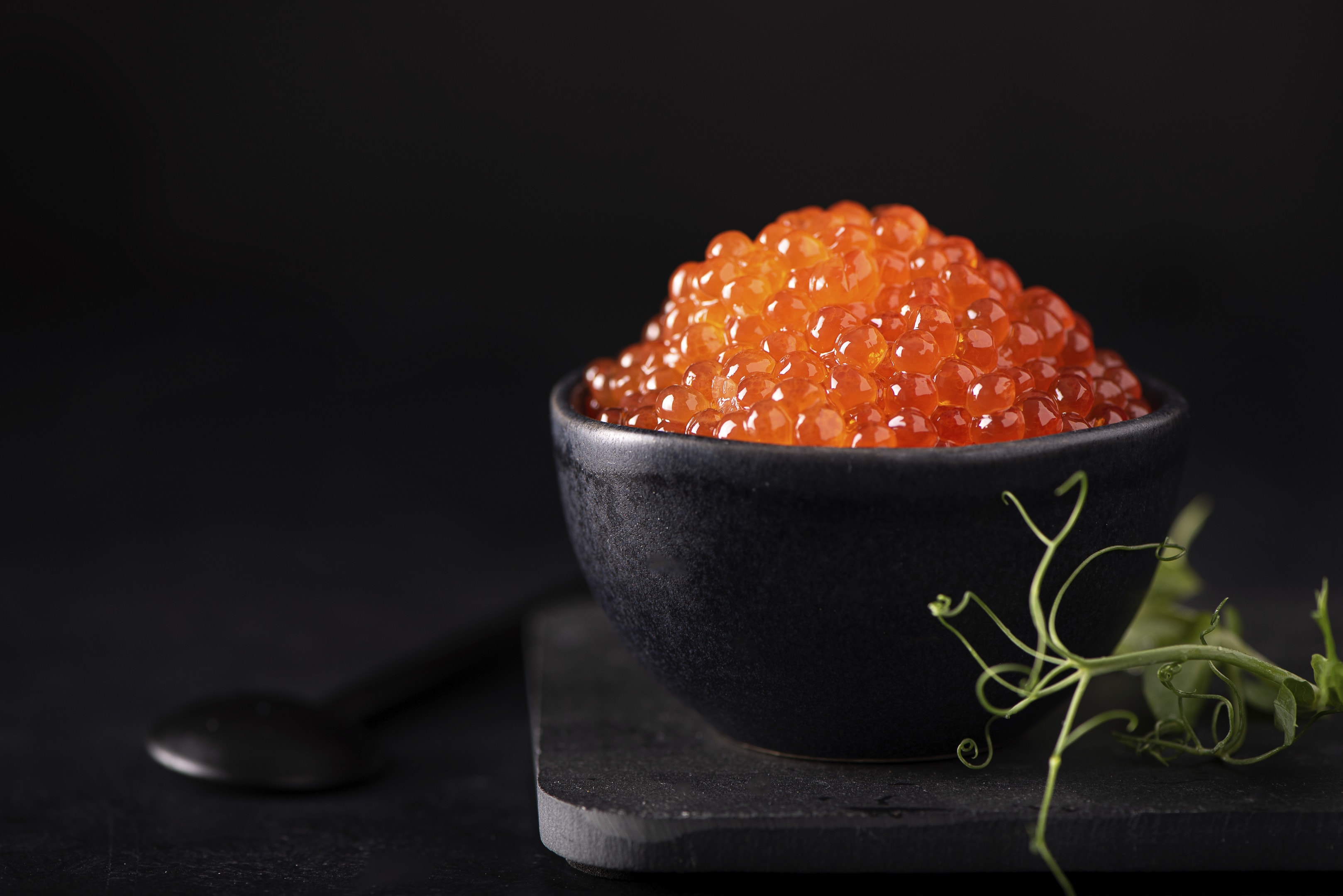 Red salmon caviar in a bowl