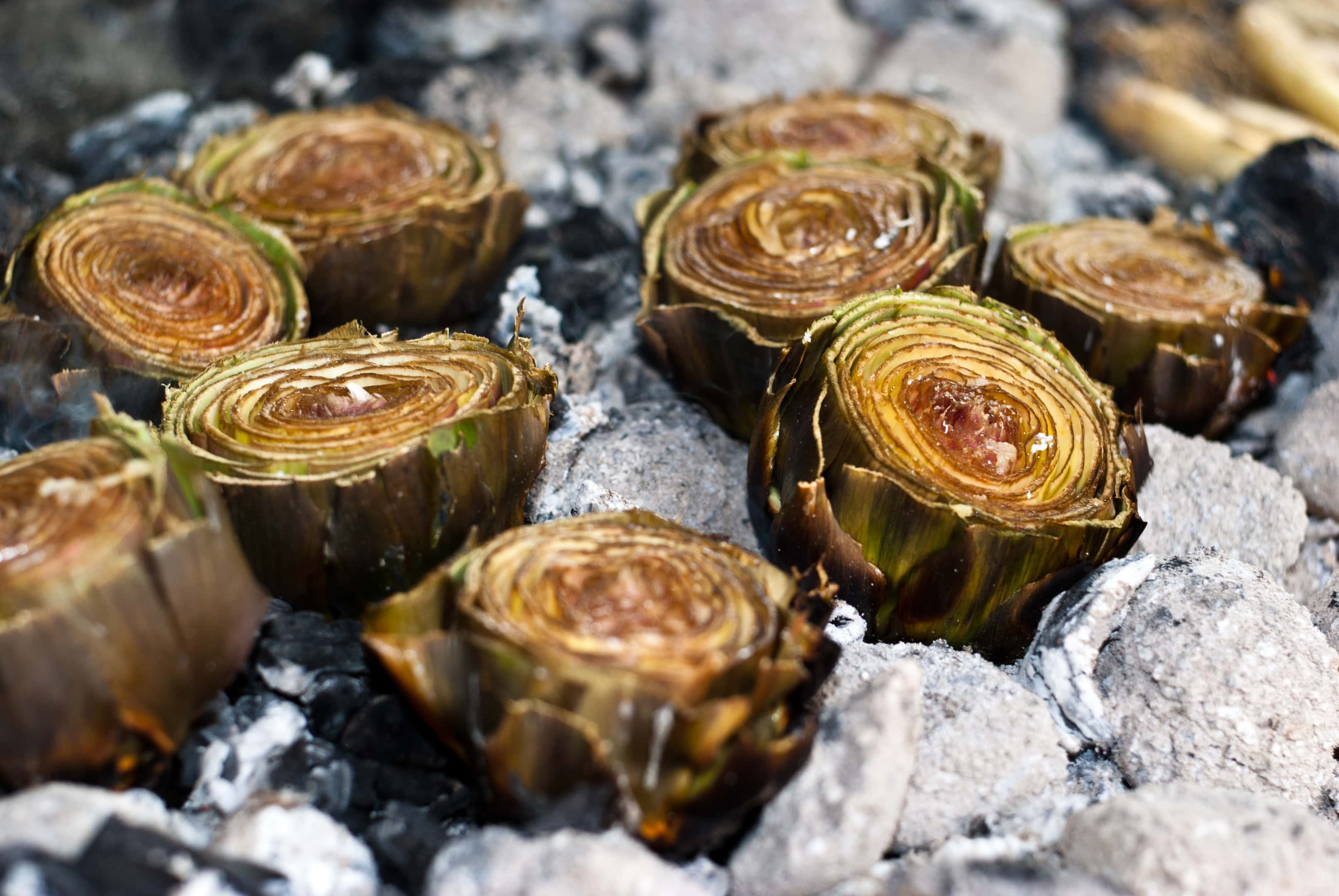 Artichokes hearts on ember BBQ