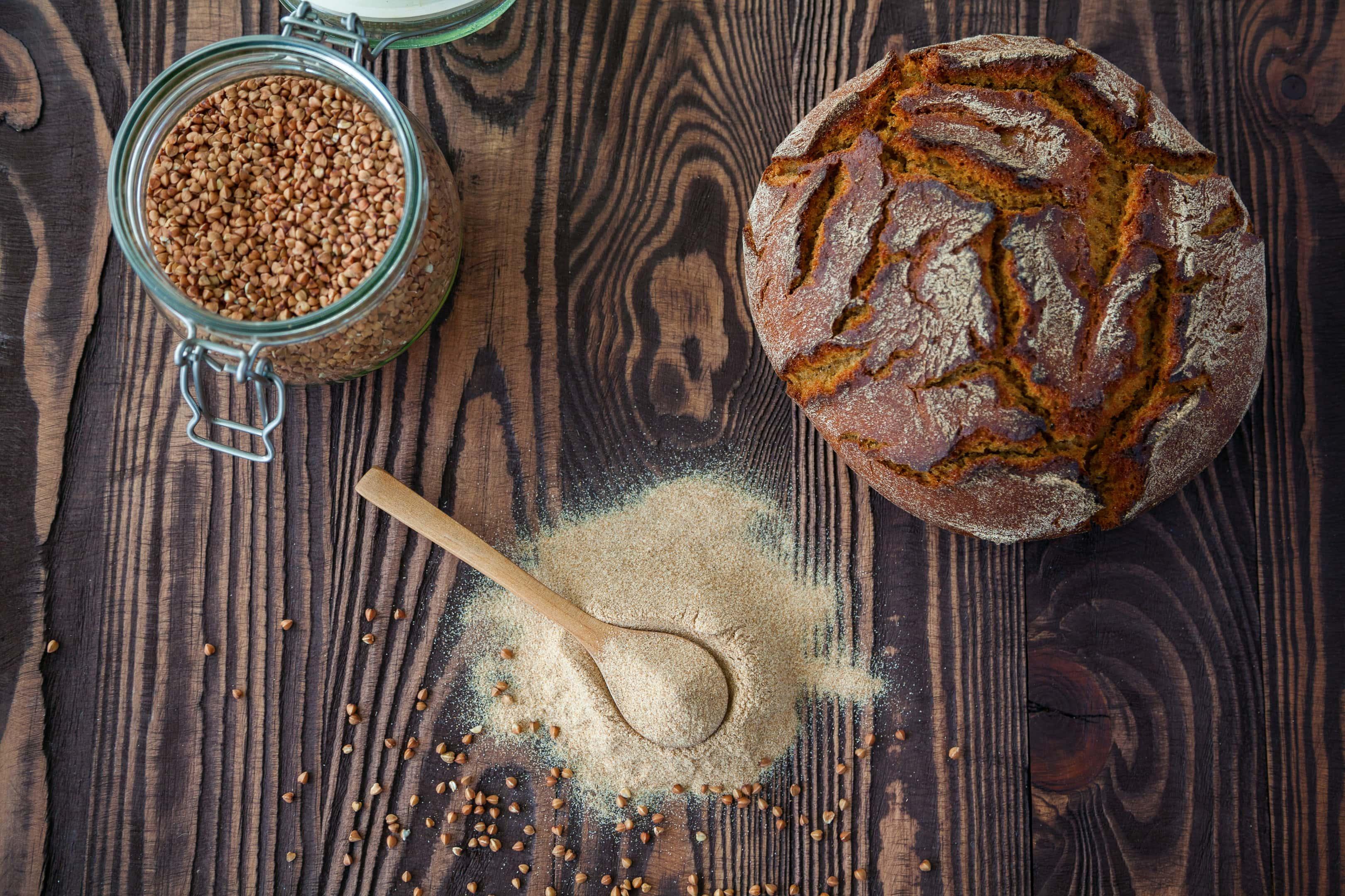 Buckwheat flour and buckwheat grains and buckwheat bread.