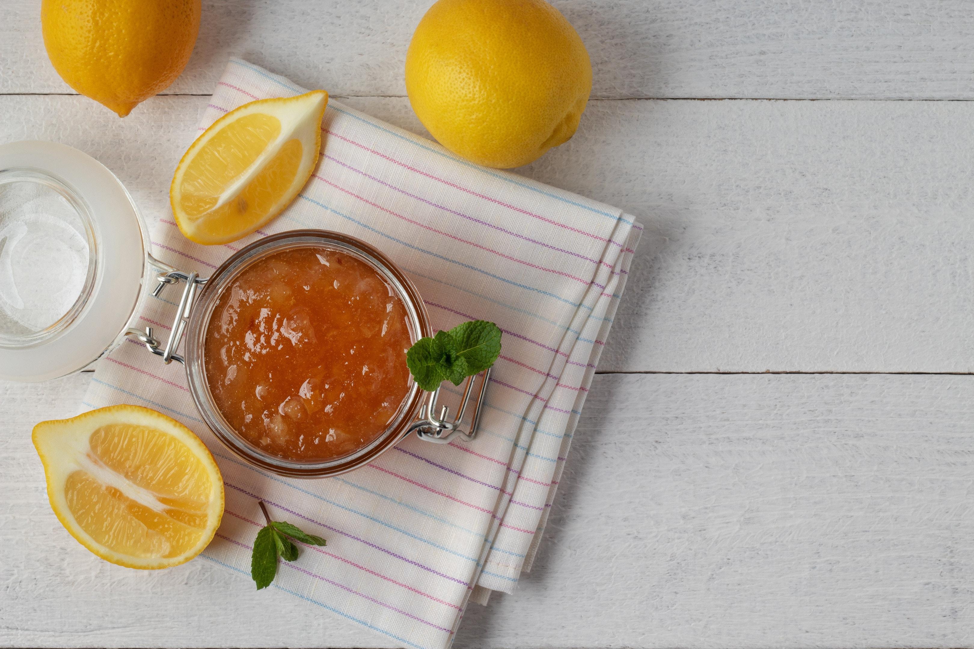 Citrus marmalade in a jar