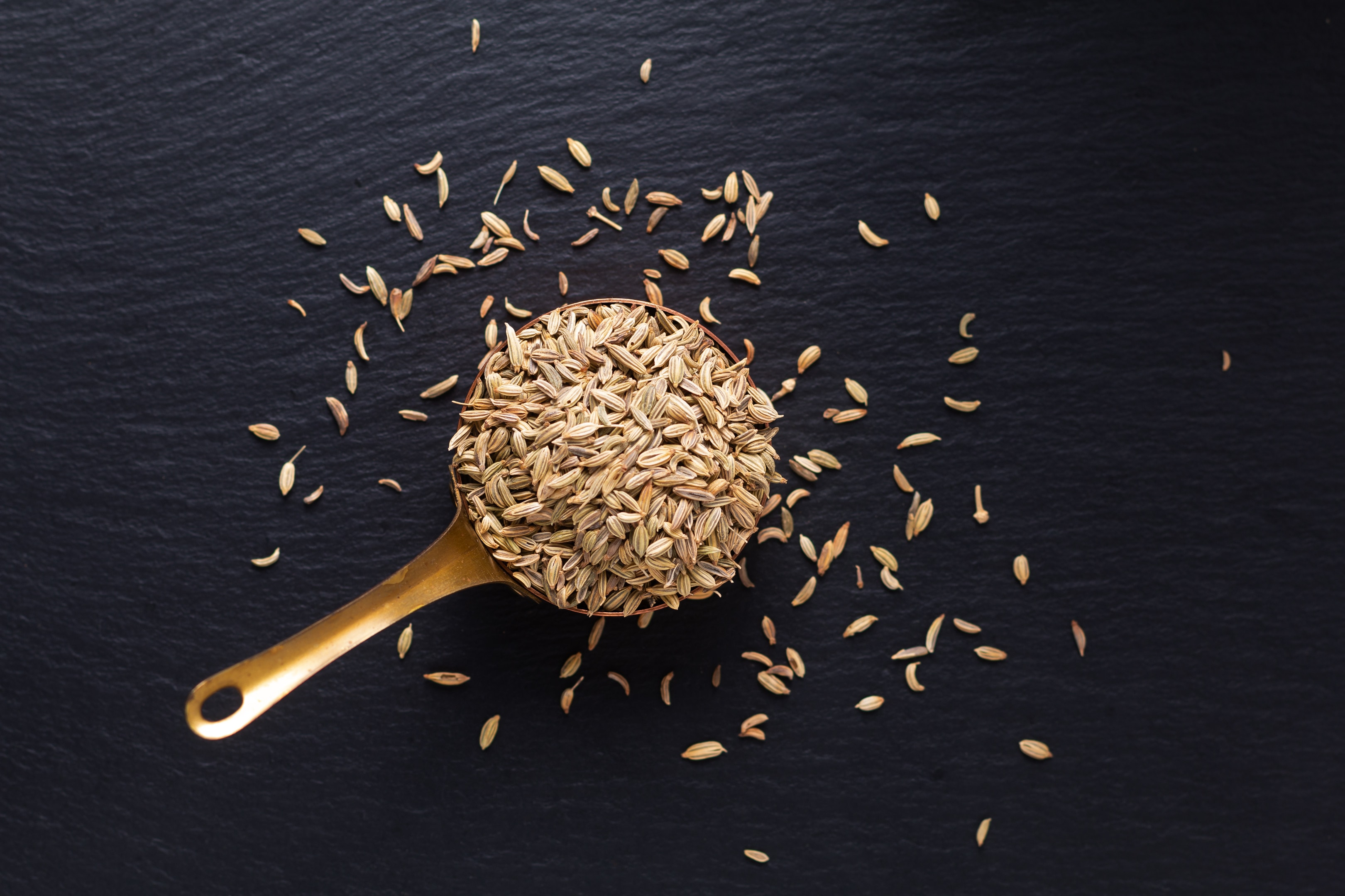 Cumin seeds in metal spoon