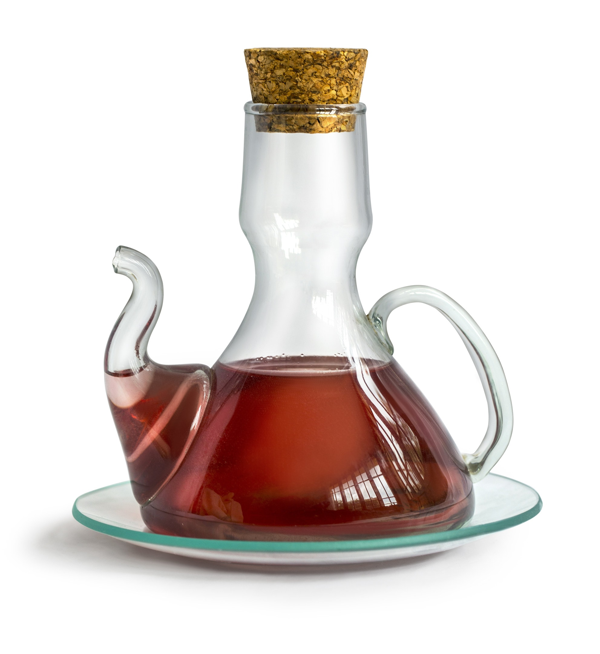 Decanter with sherry vinegar isolated white