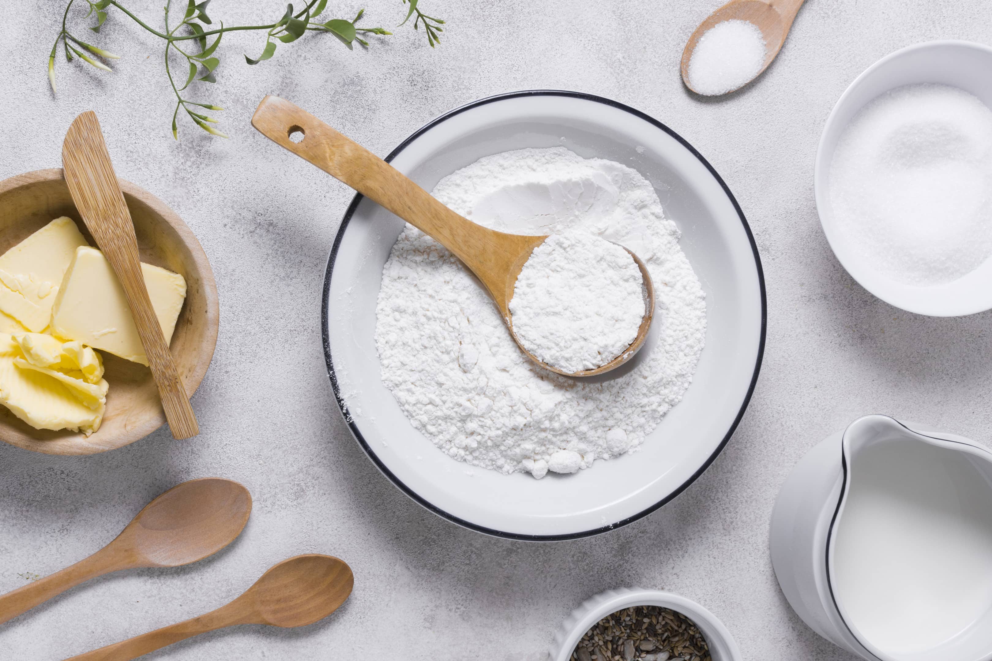 Flat lay baking refined flour