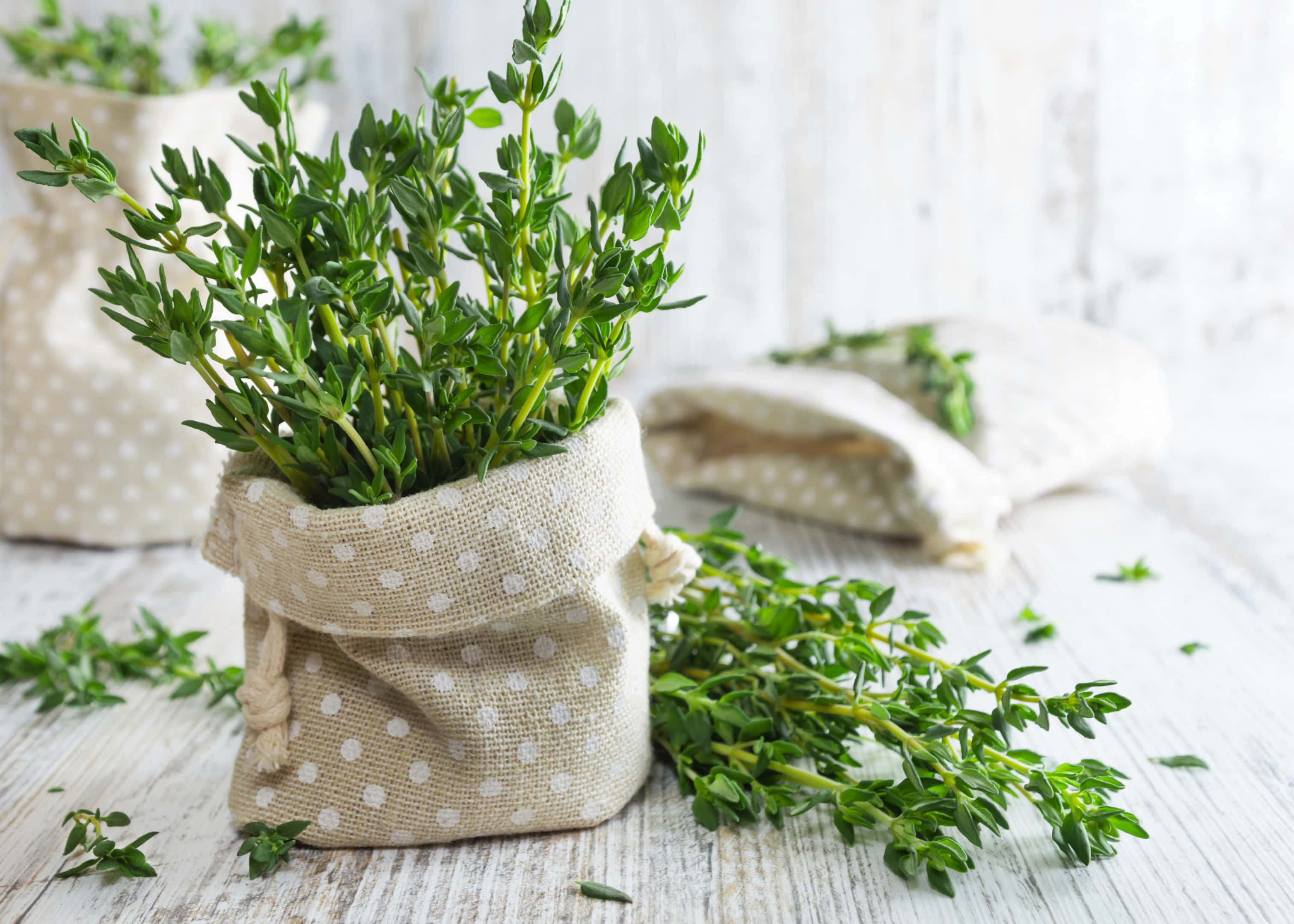 Fresh thyme in pouch on old wooden table
