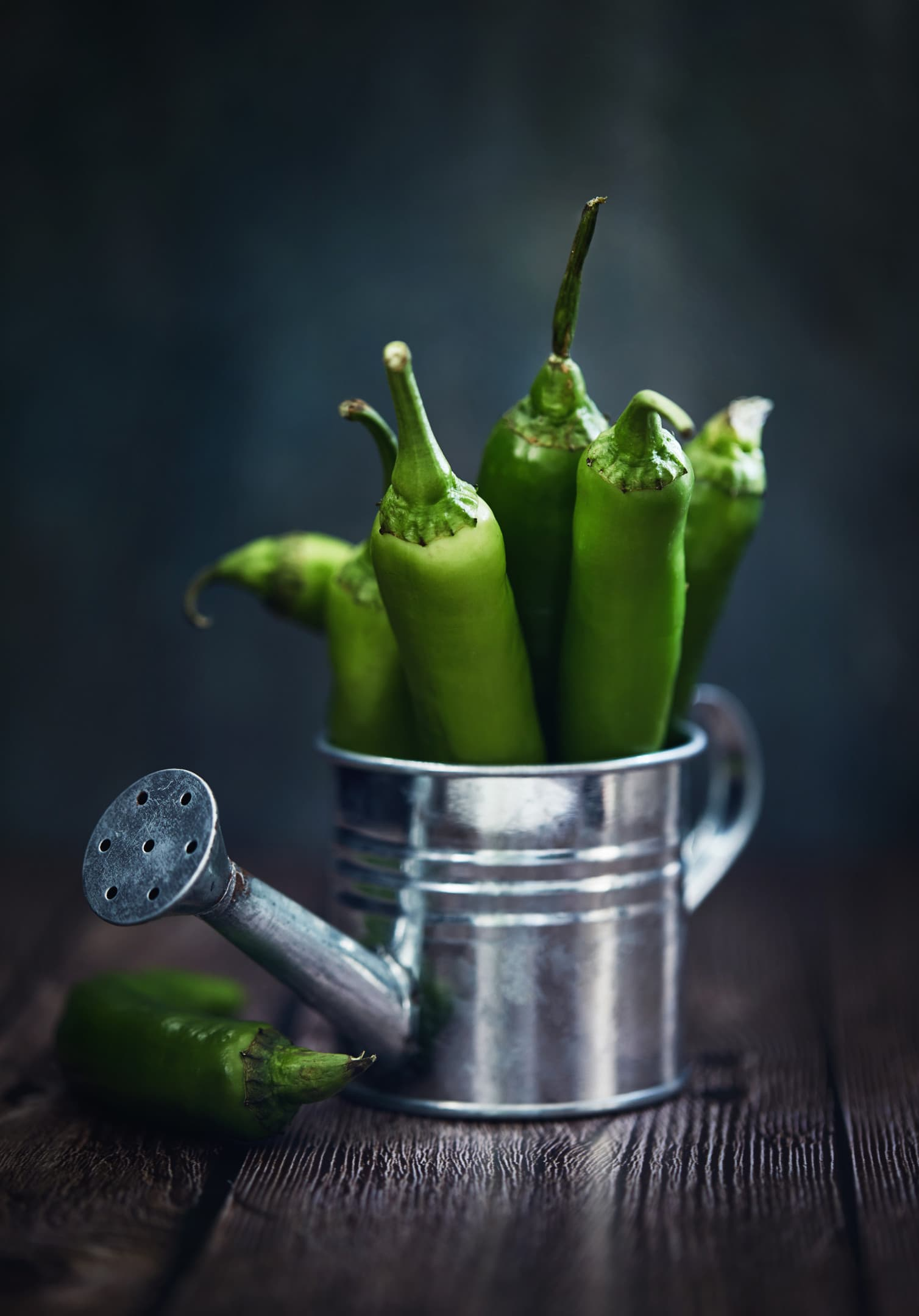 Green hot serrano peppers