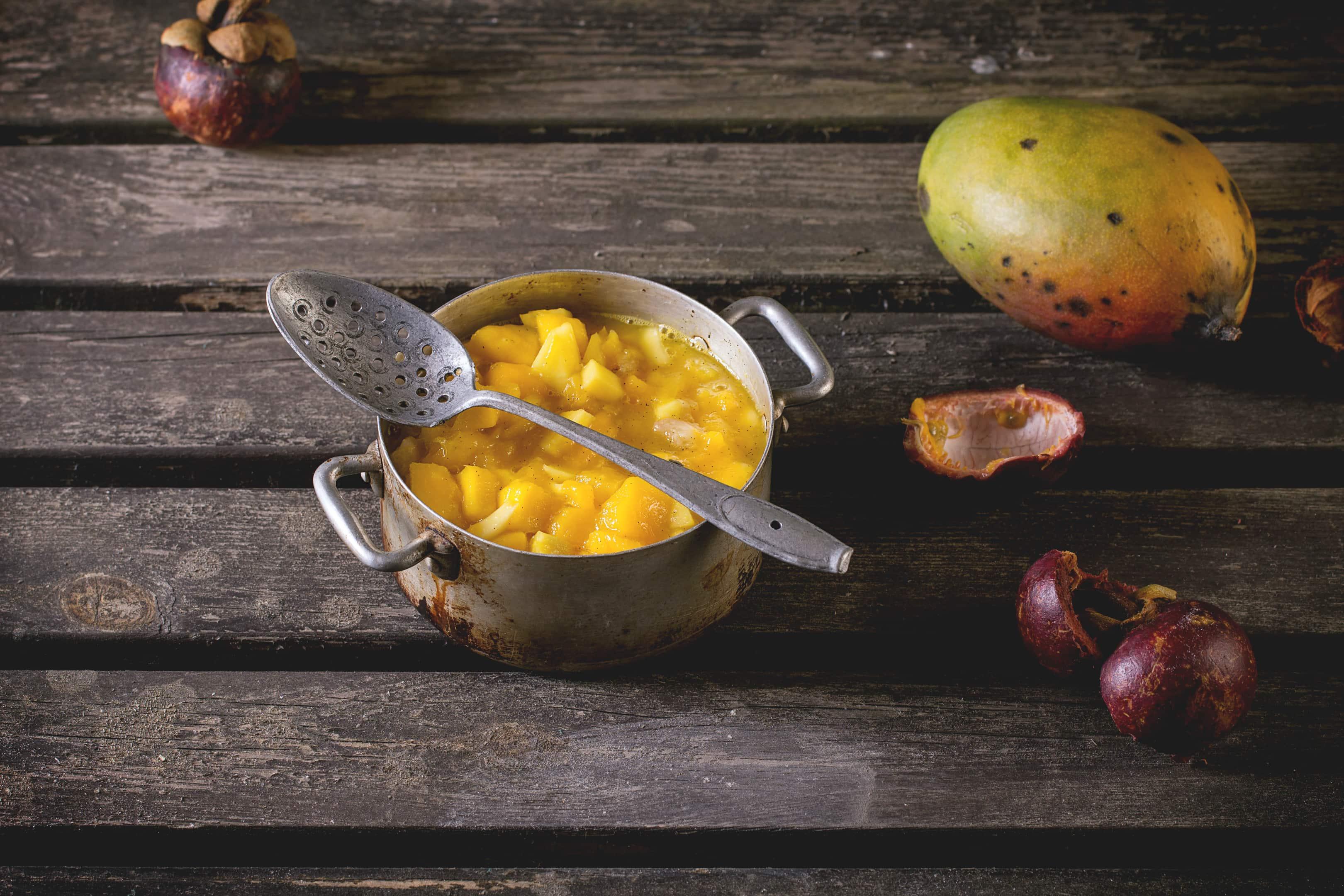Mango chutney in small pan