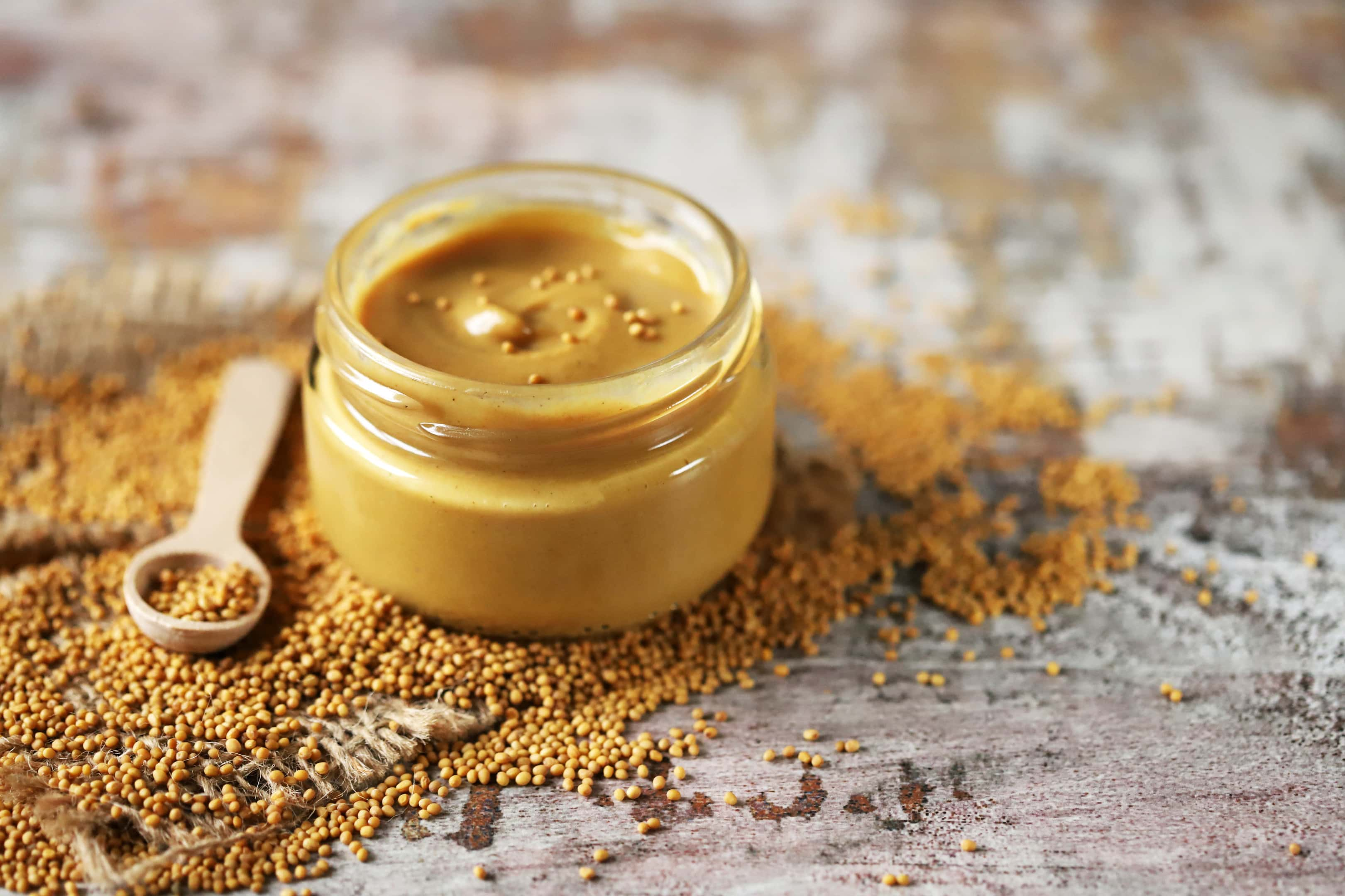 Natural mustard in jar