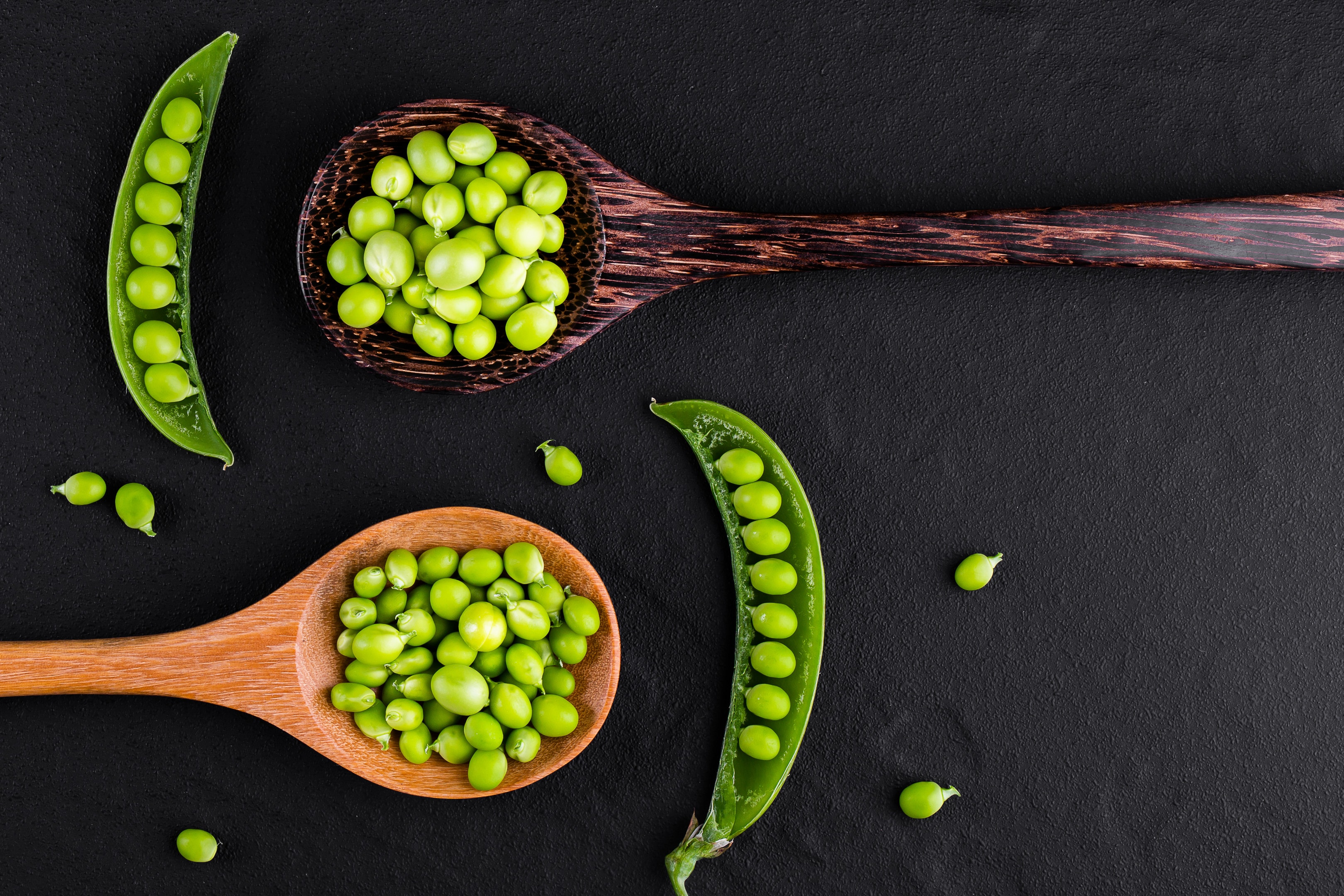 Pea pods on wooden spoons on black background