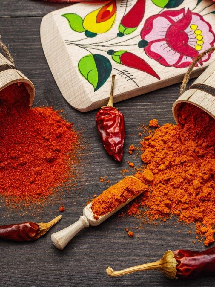 Sweet and hot hungarian paprika powder