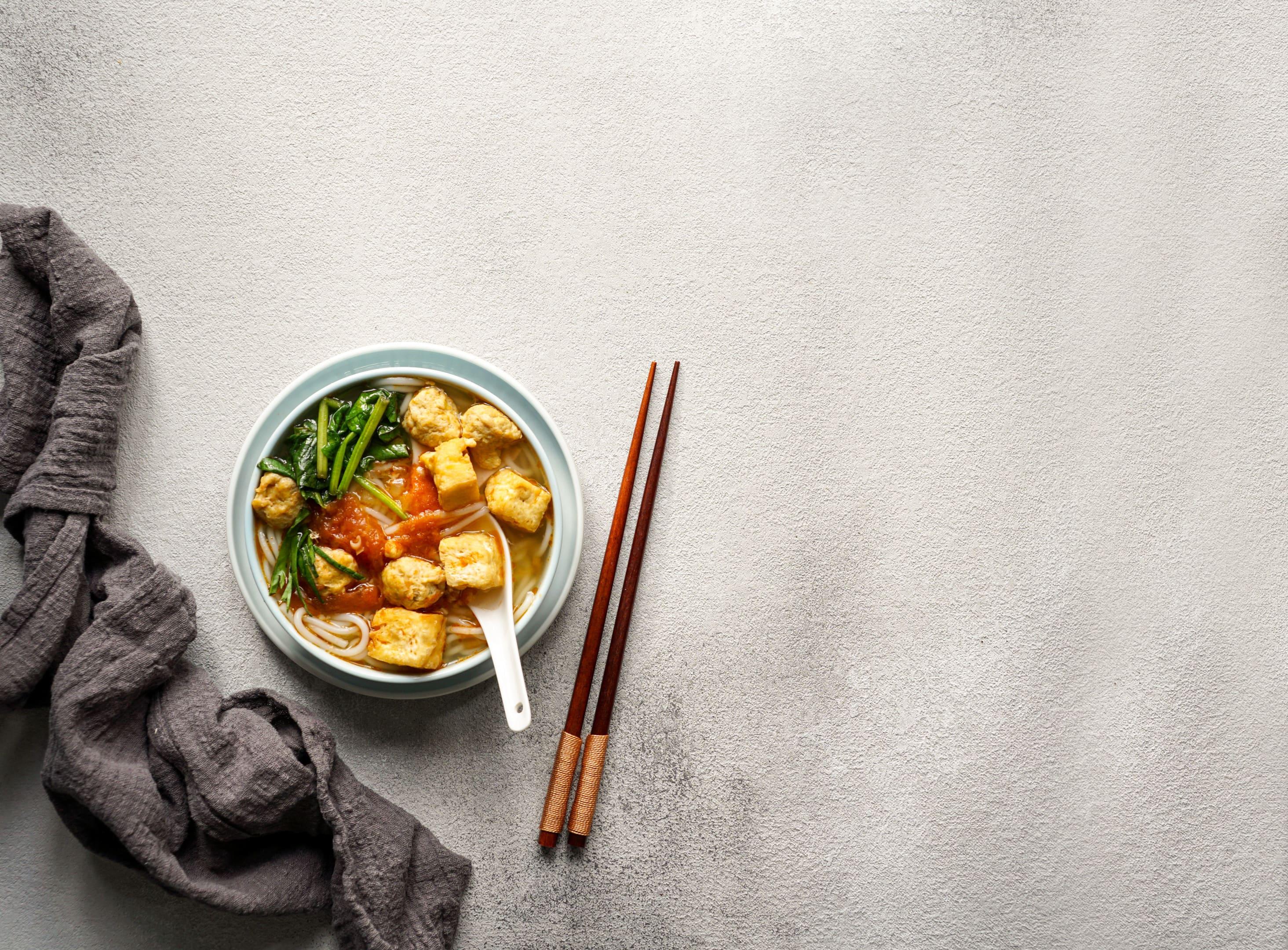 Vietnamese Noodle and Tofu soup