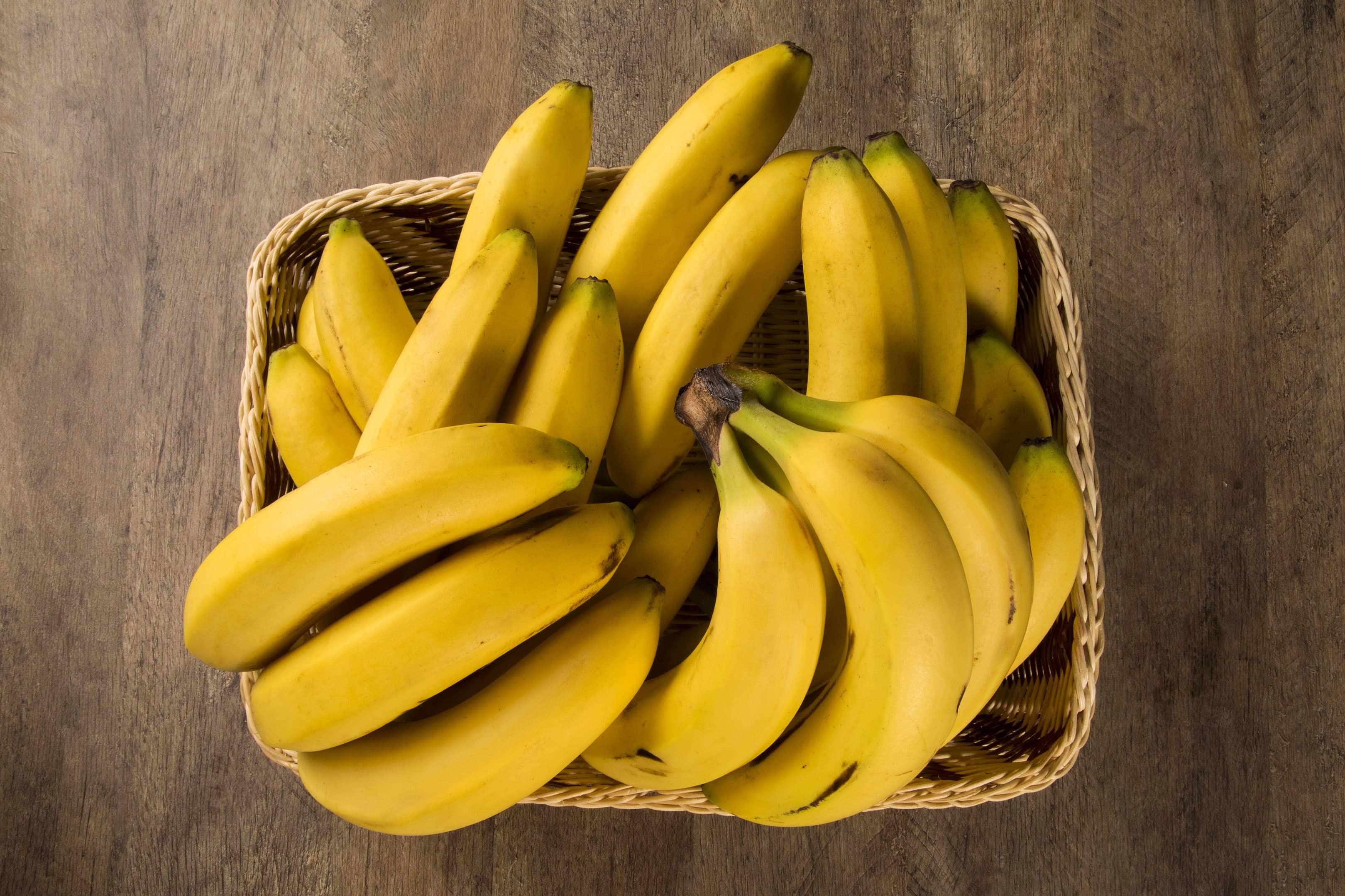 Bunch of bananas in basket