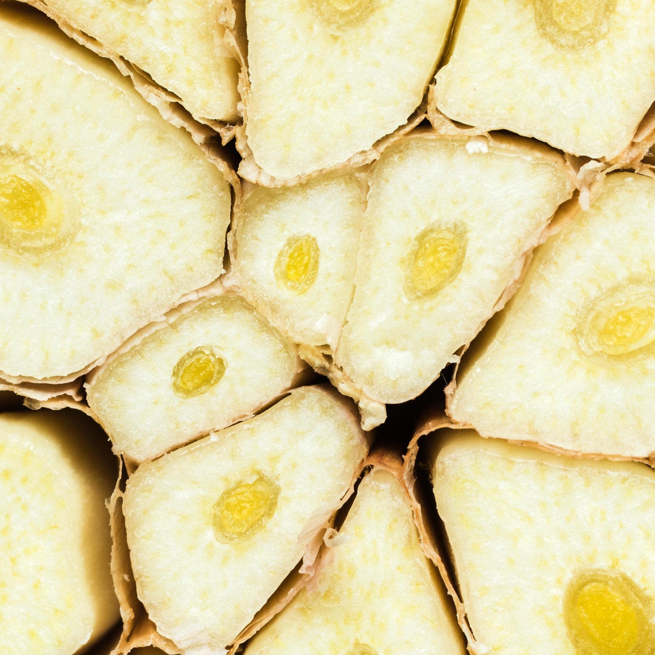 Close up of sliced garlic