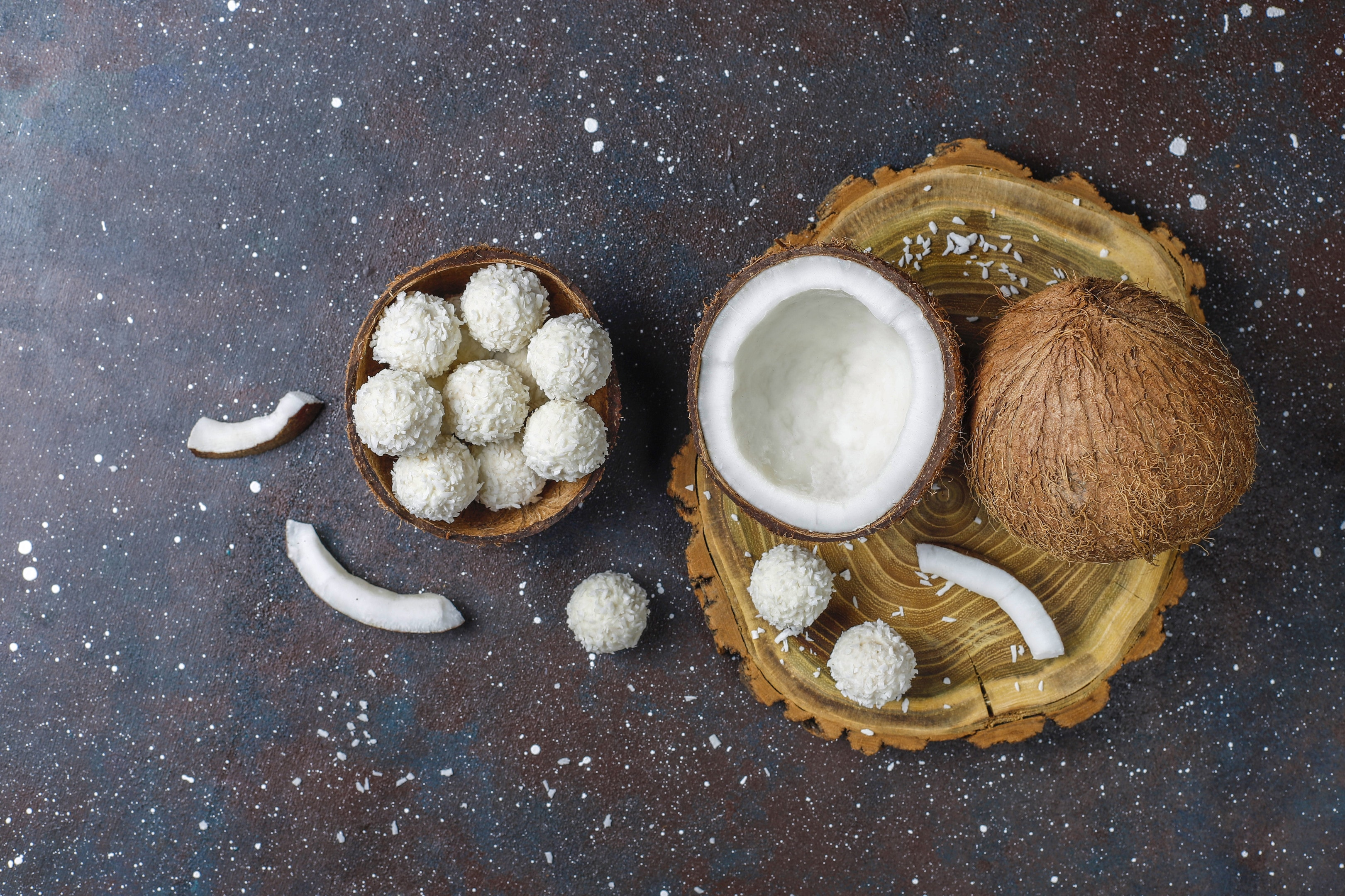 Coconut white chocolate truffles made with coconut sugar