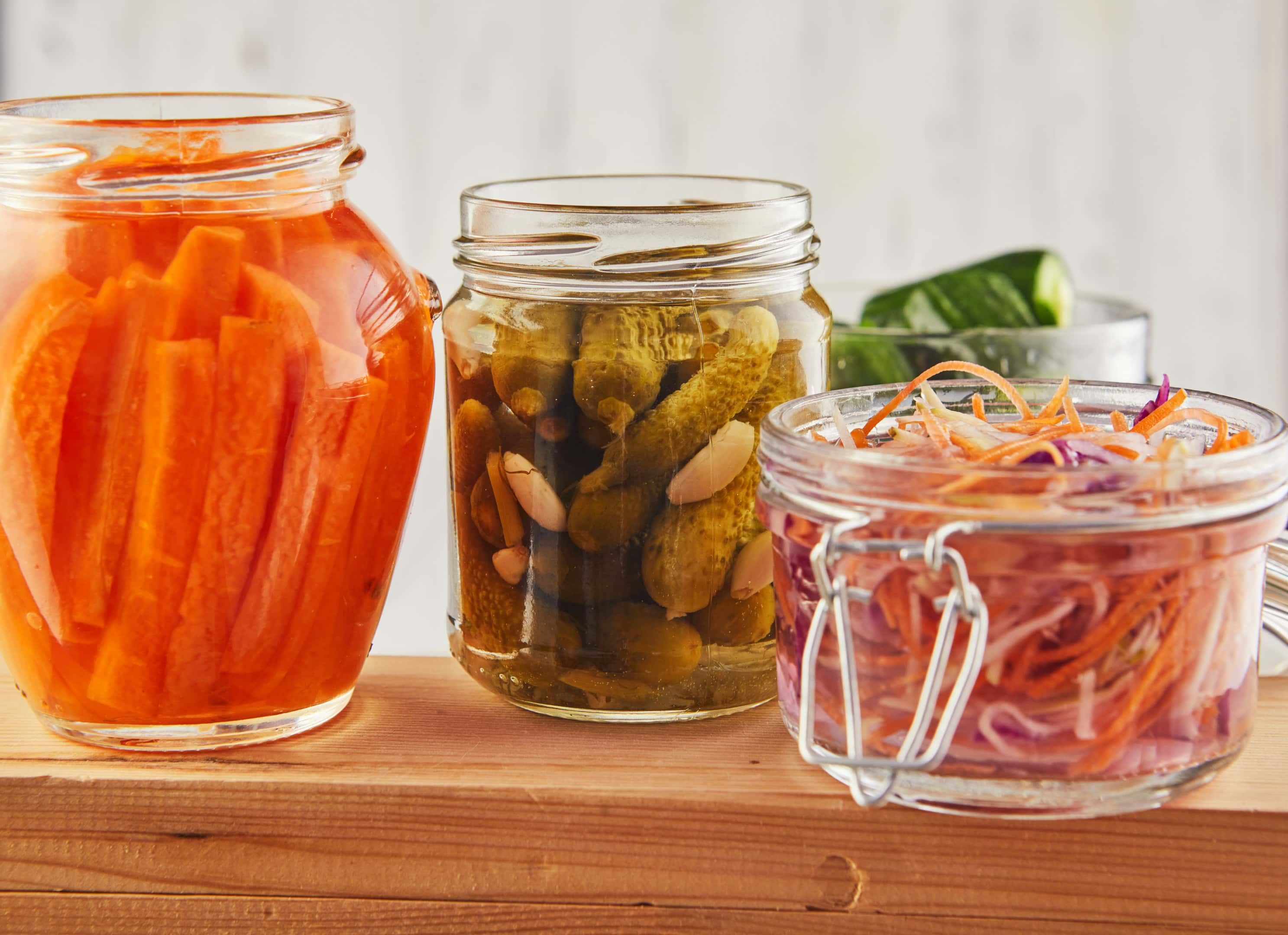 Fermented preserved foods on wooden table