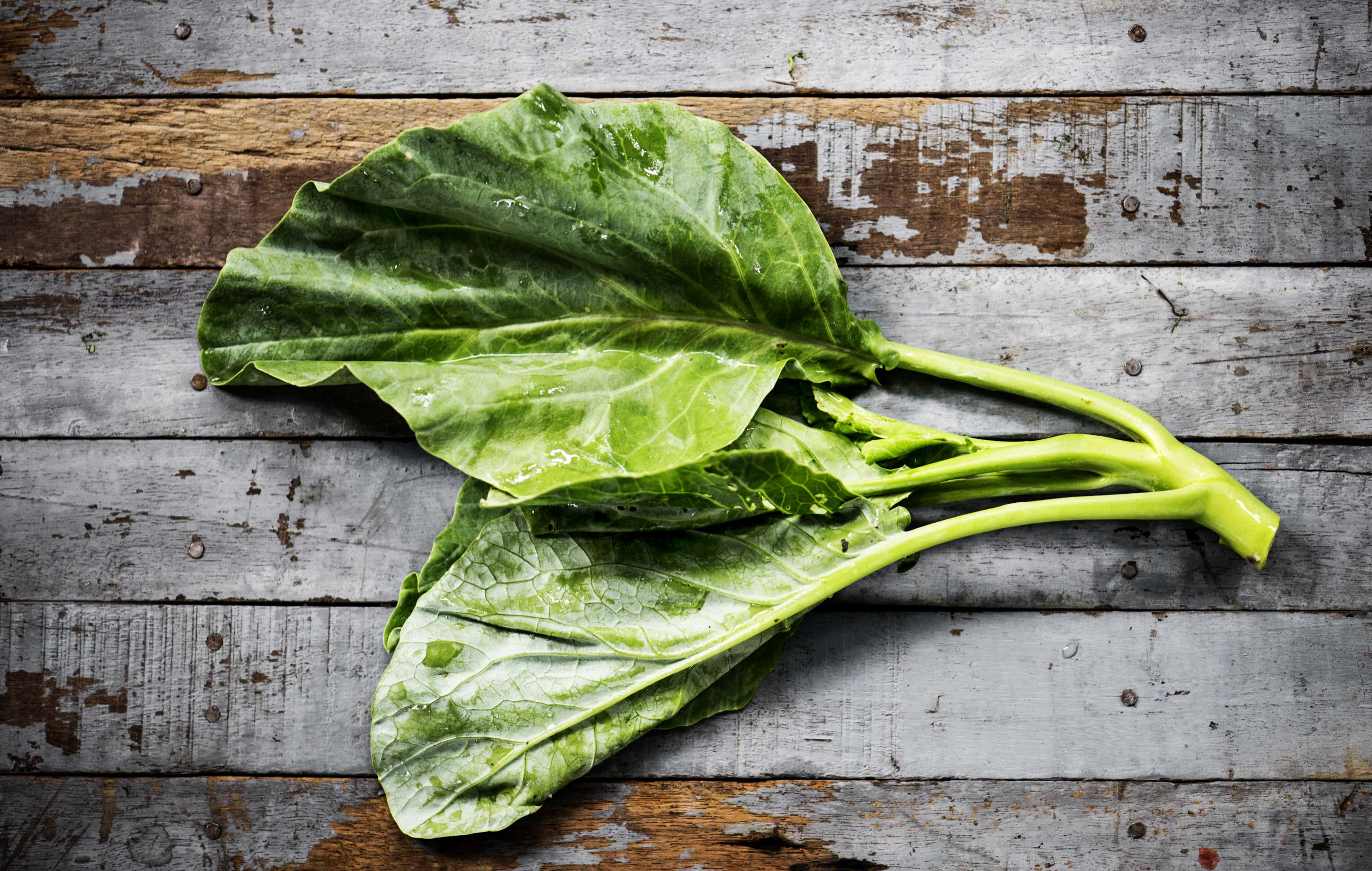 Fresh collard Chinese kale on wooden background