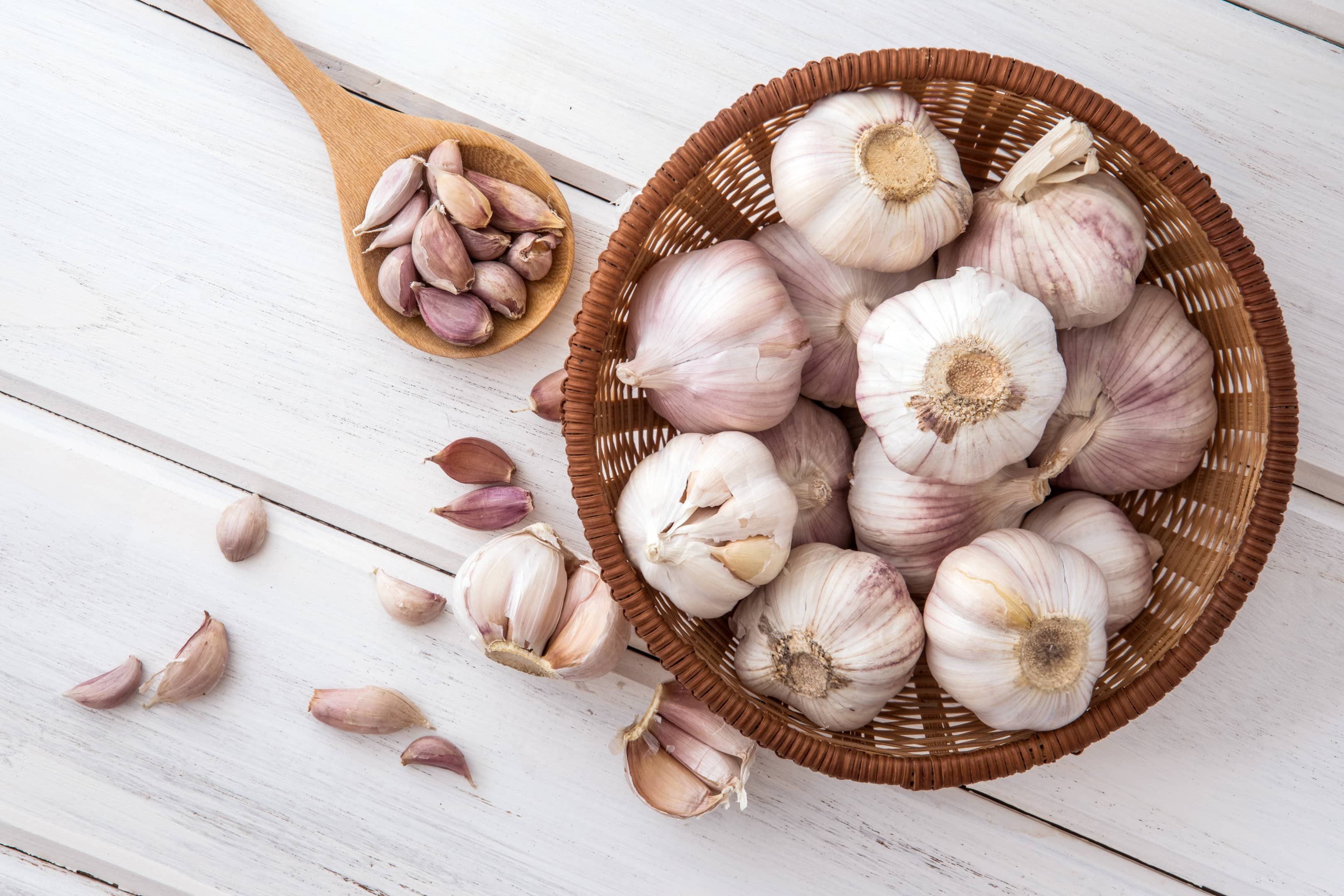 Group of garlic in wooden plate on white wooden table