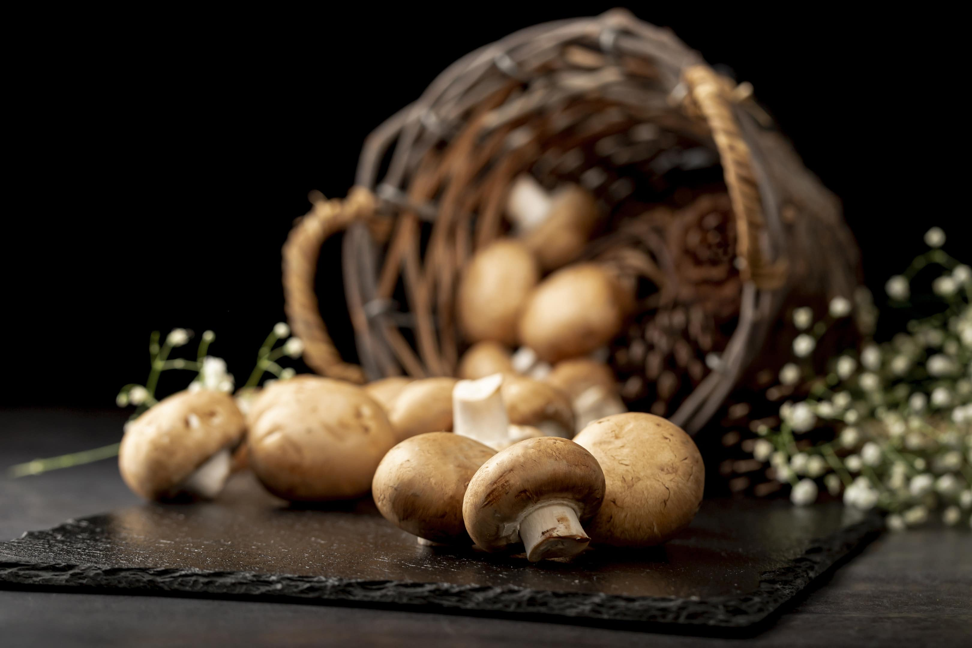 Mushrooms on black stone plate with brown knitted basket