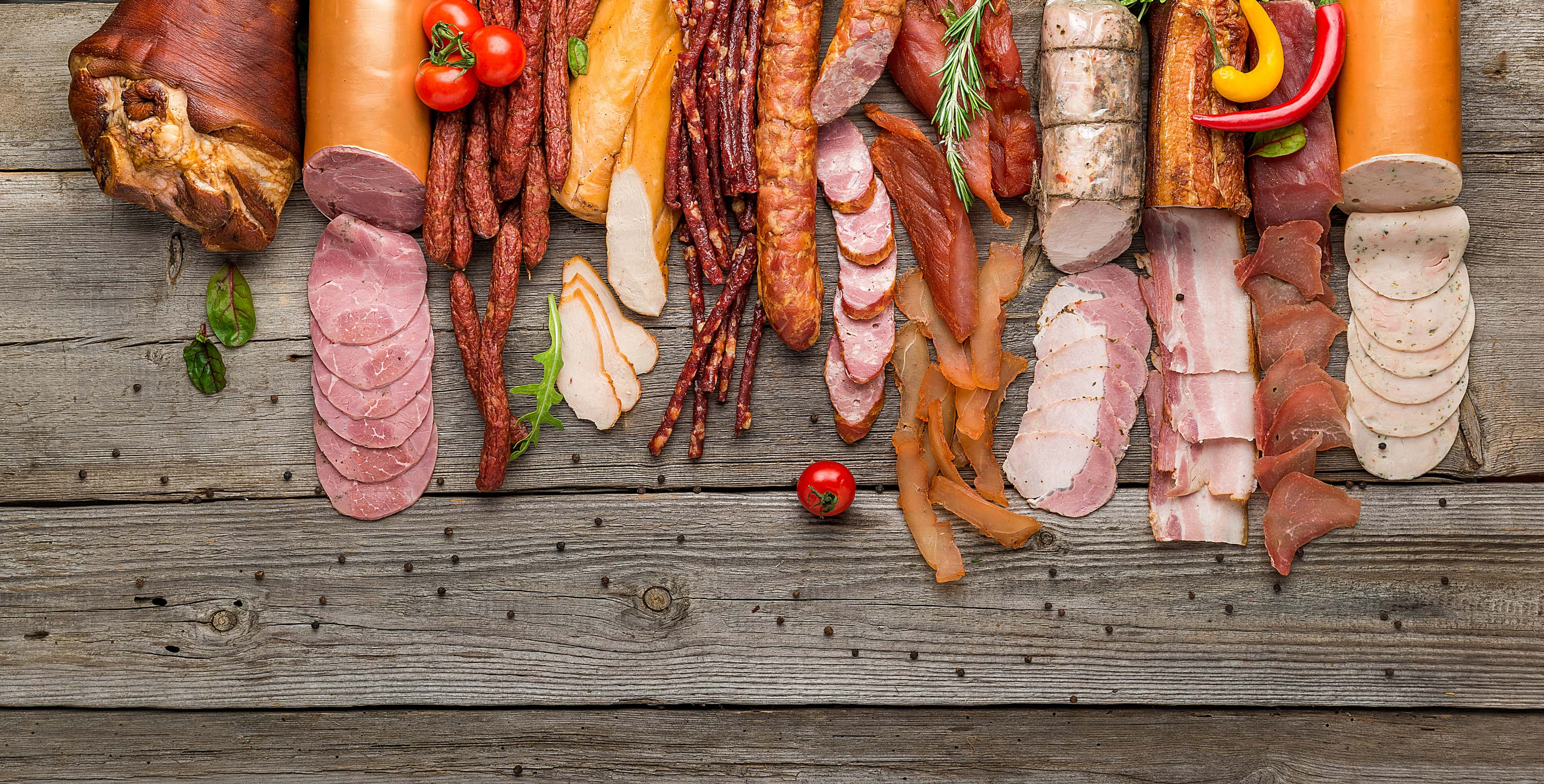 Assortment of processed cold meat products