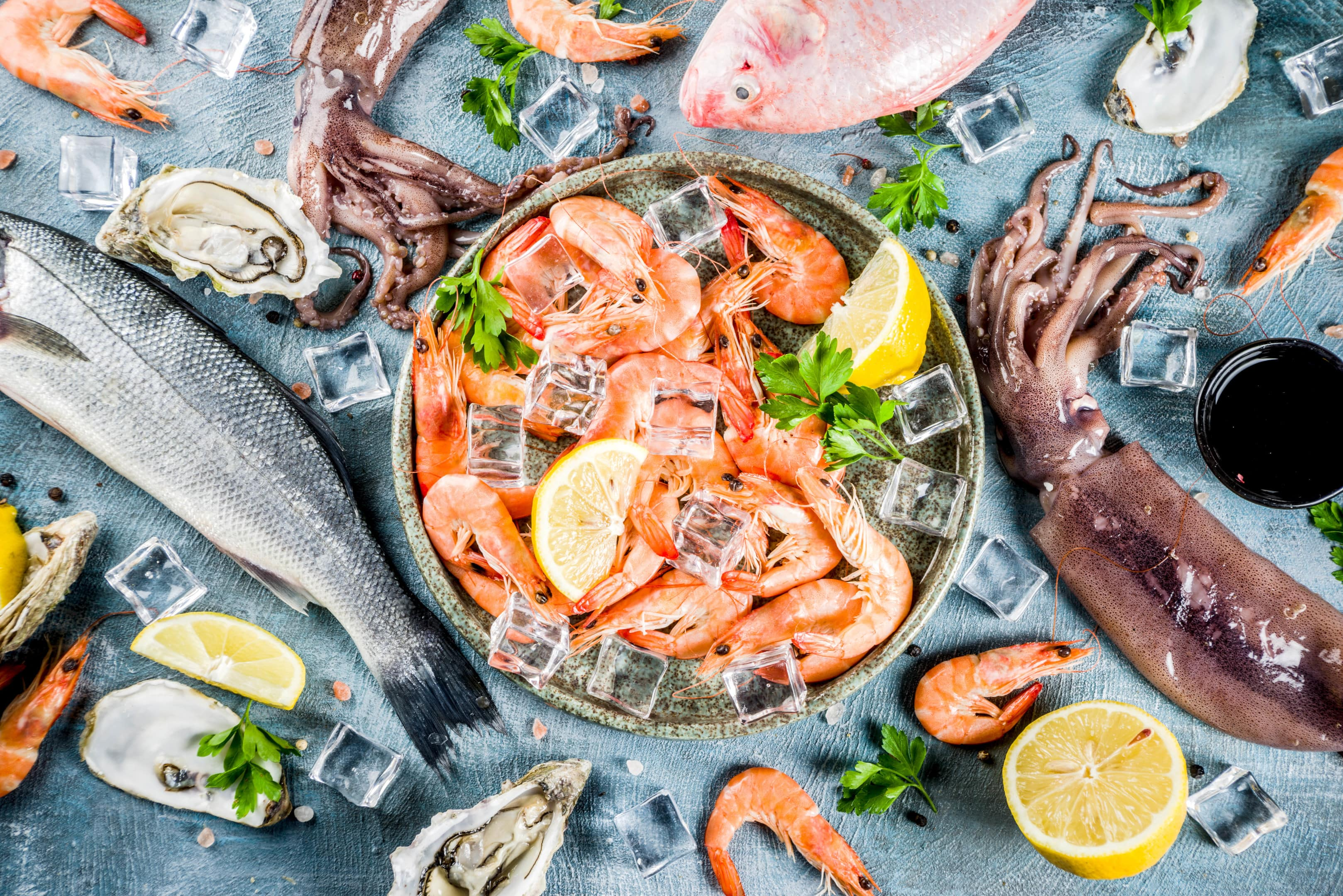 Fresh raw seafood squid shrimp oyster mussels and fish on blue background