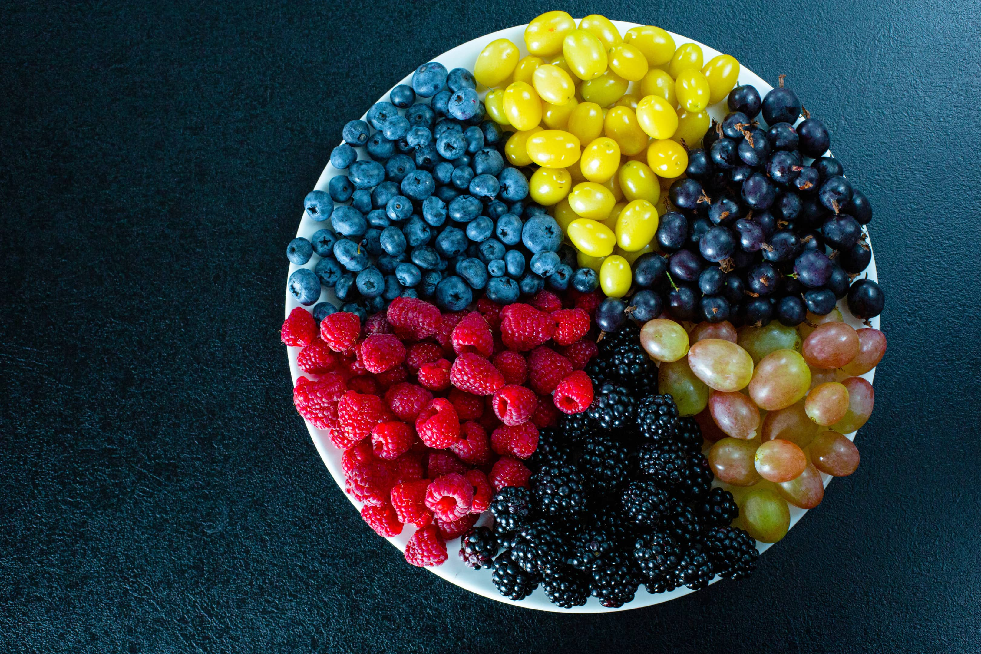 Mix of colored berries in round plate