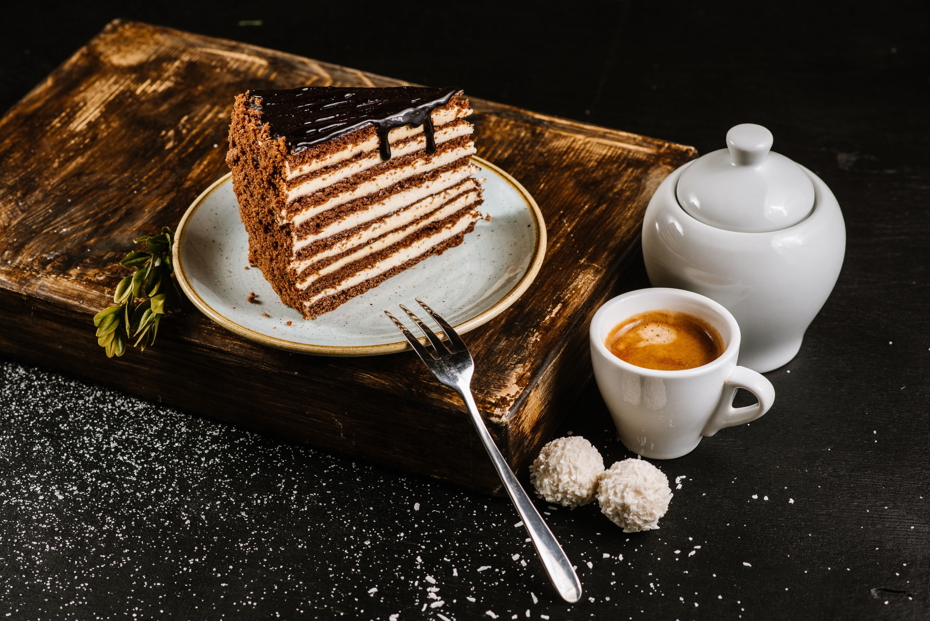Piece of chocolate cake and espresso