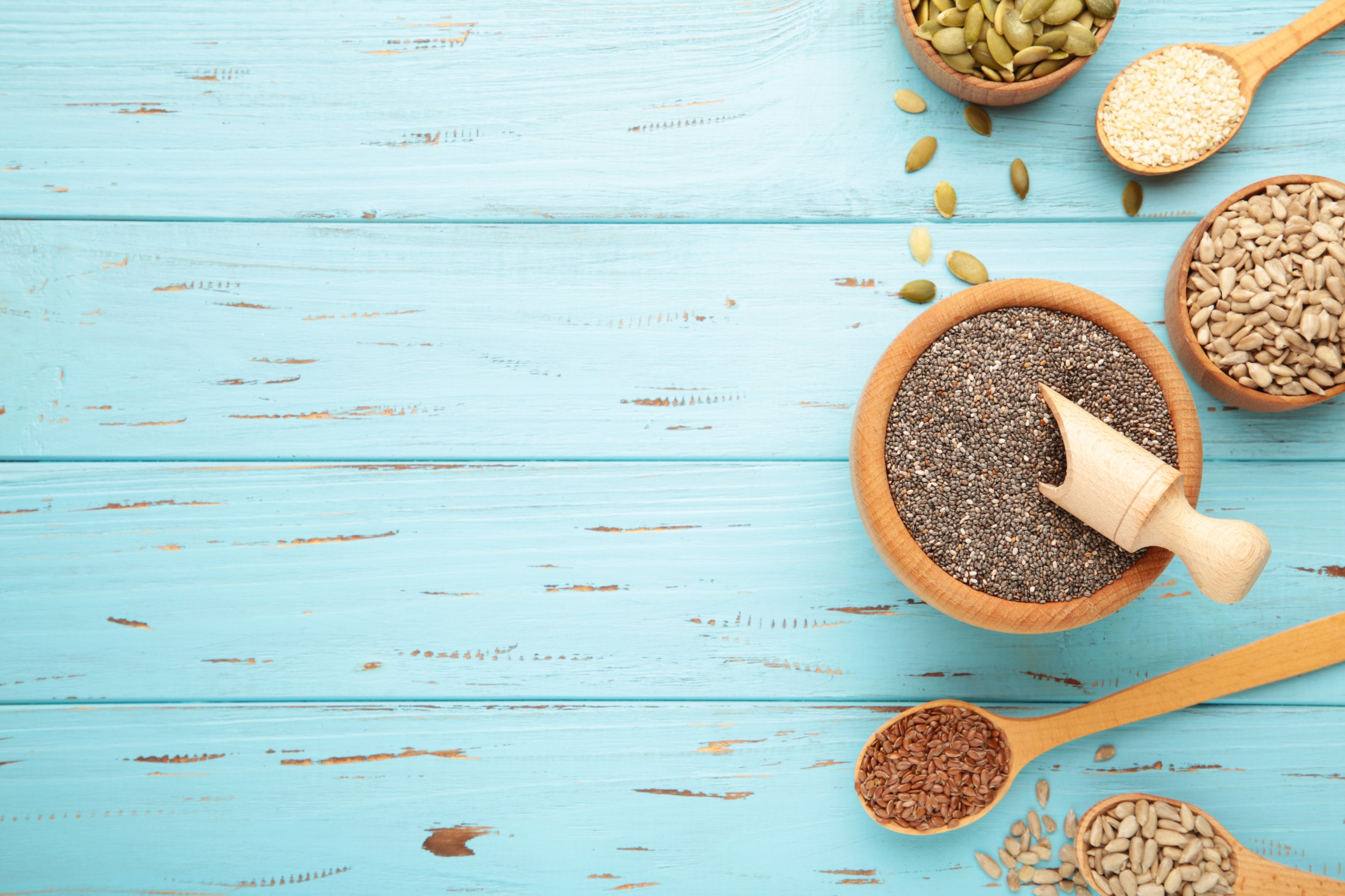 Sesame and pumpkin seeds and sunflower seed and flex seeds and chia seeds