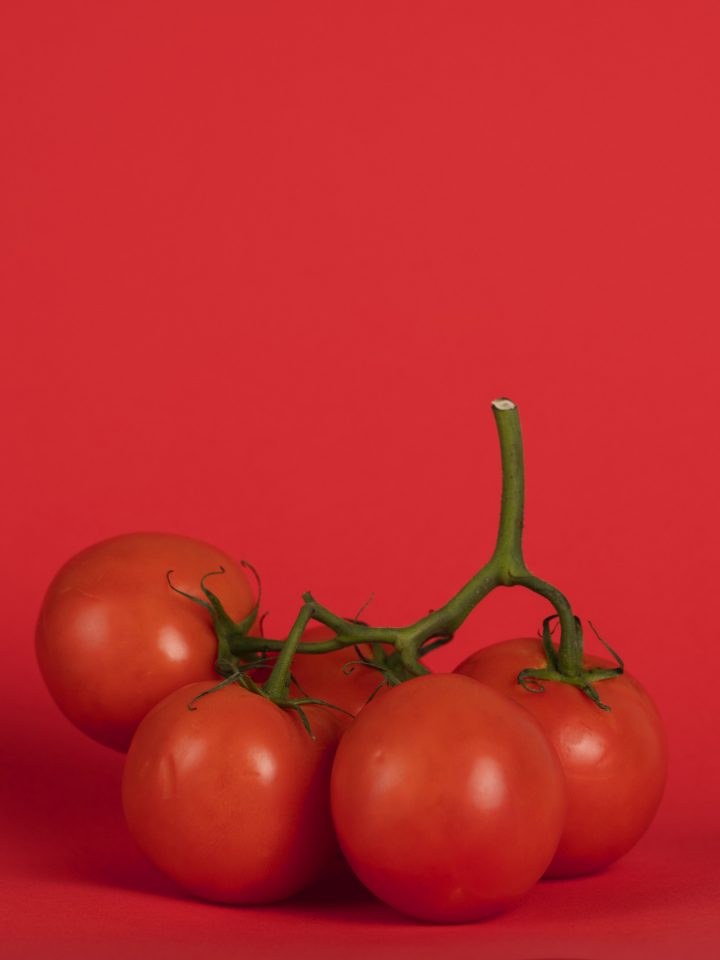 Cherry tomatoes branches on red background
