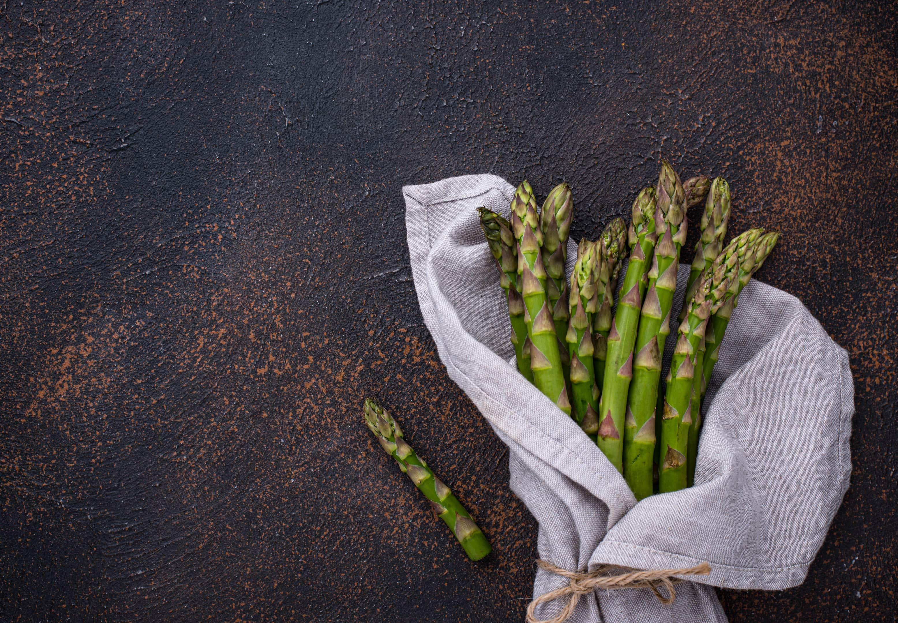 Fresh raw ripe green asparagus