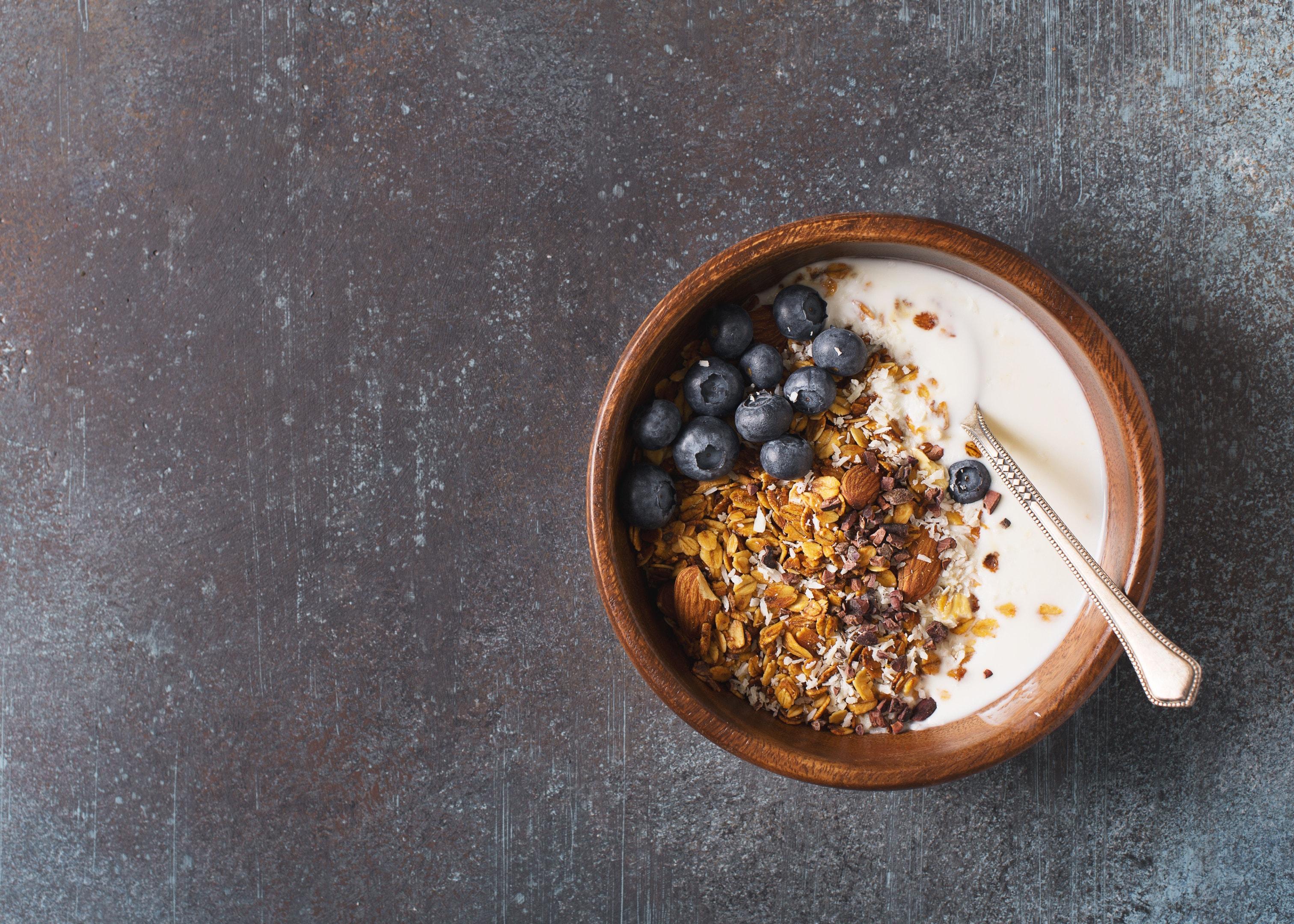 Homemade granola muesli with blueberries