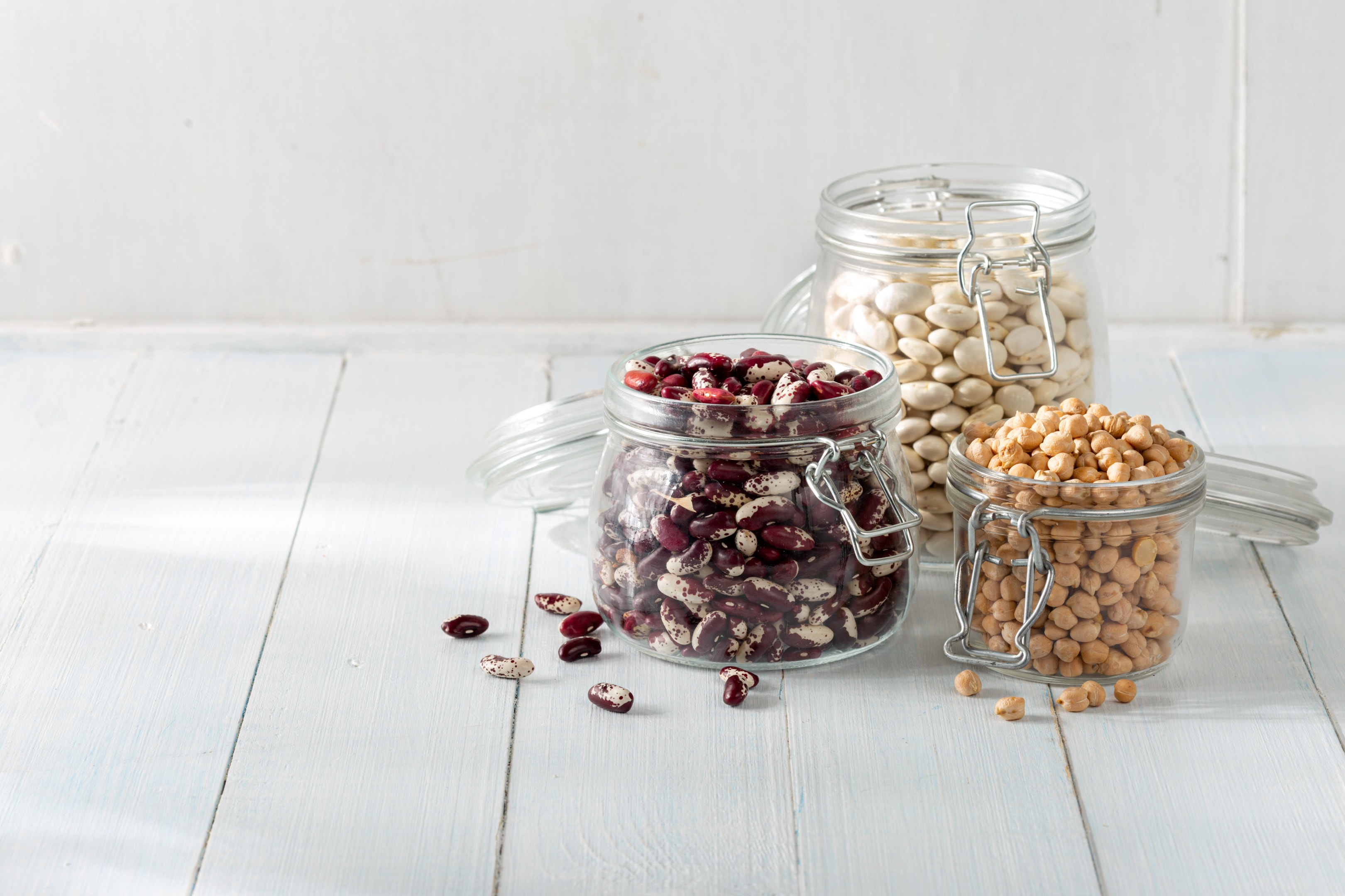 Legumes in glass jars