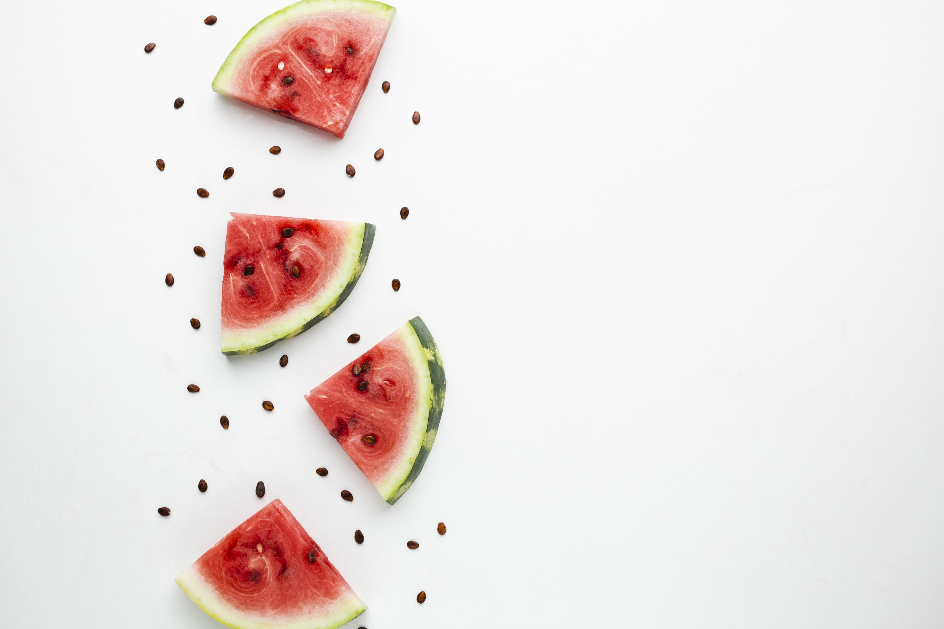 Sliced watermelon arrangement on white background