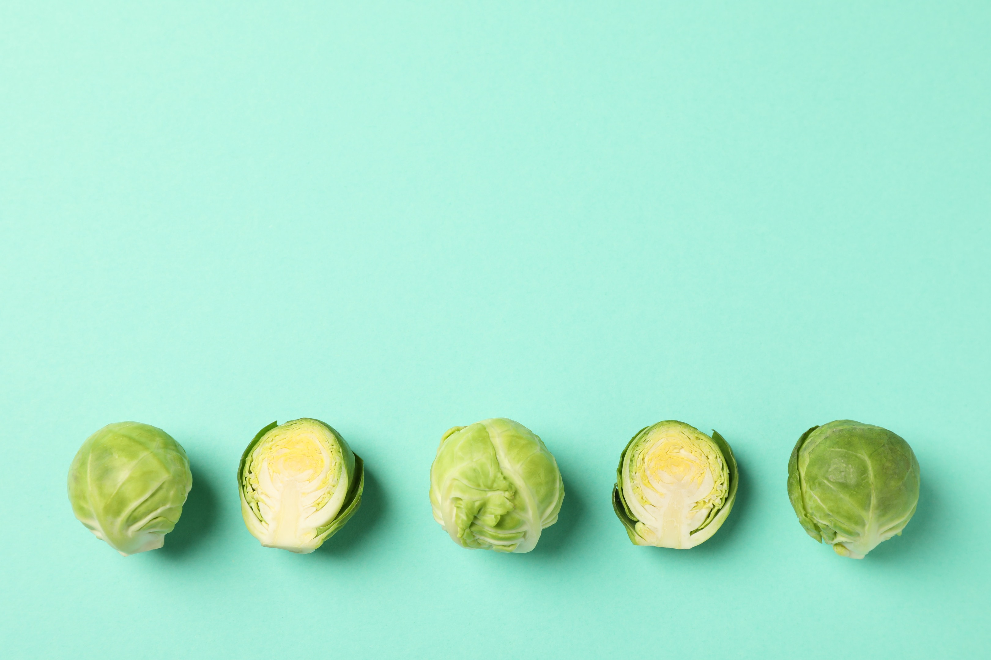 Fresh Brussels Sprout on Green Background