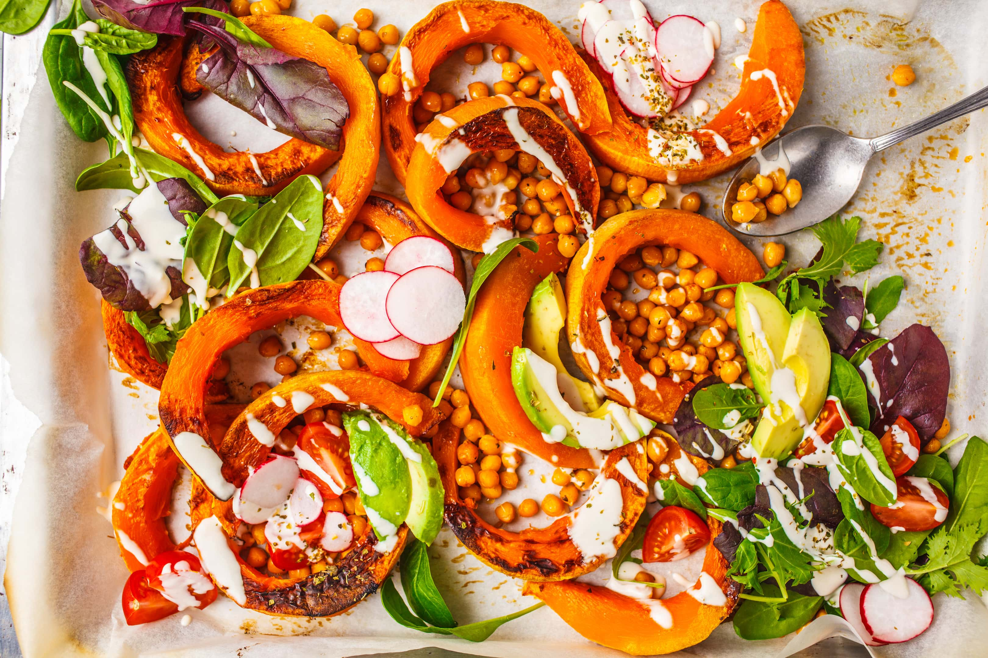Plant based diet baked pumpkin with chickpeas and avocado