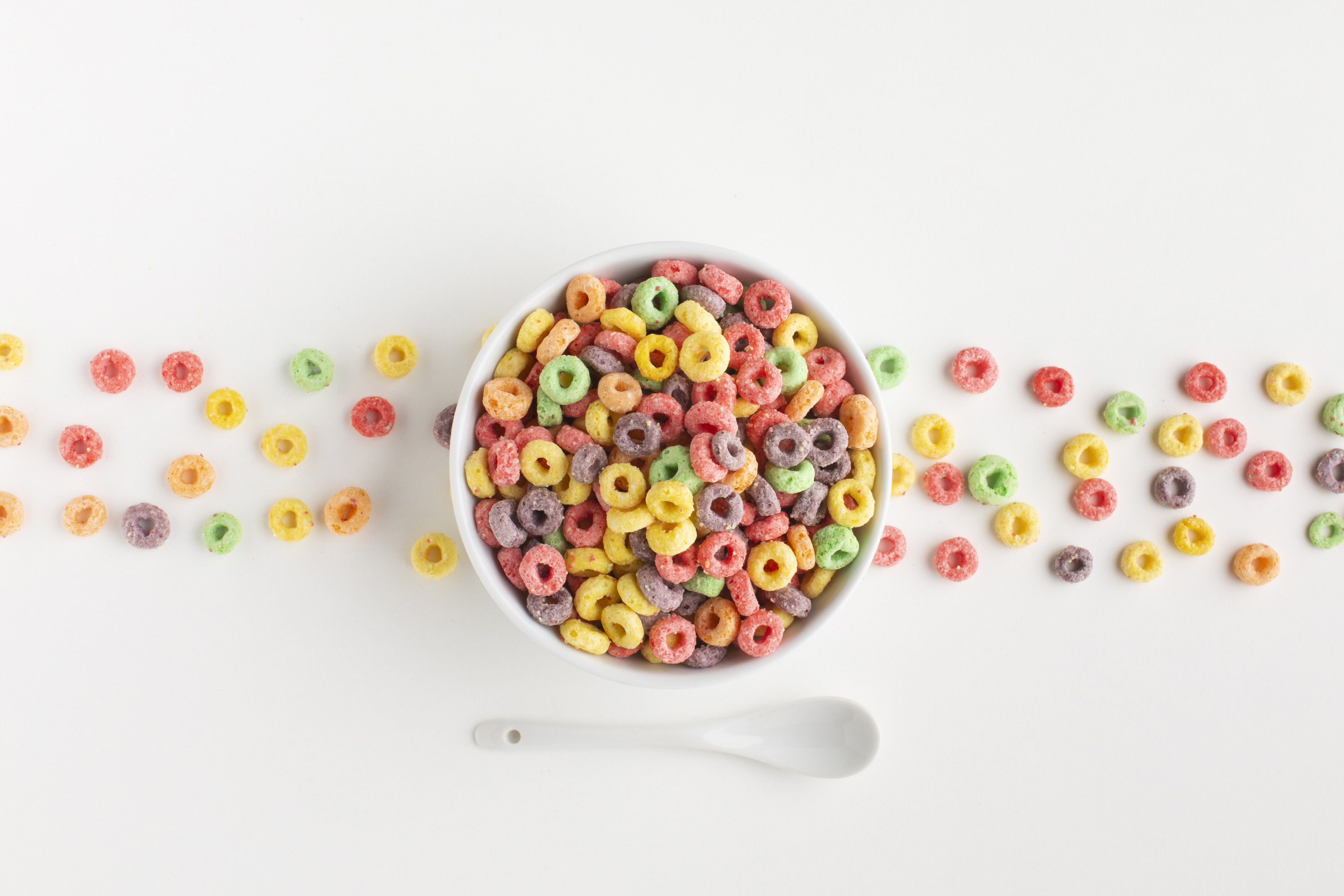Arrangement of colorful and sweet cereal