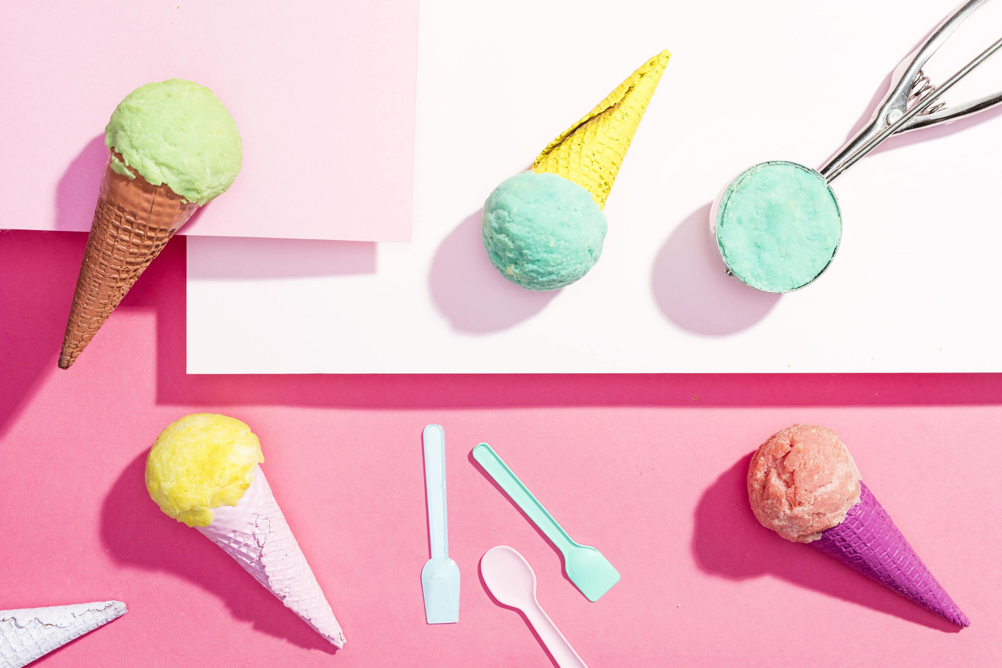Colorful ice cream on colorful table