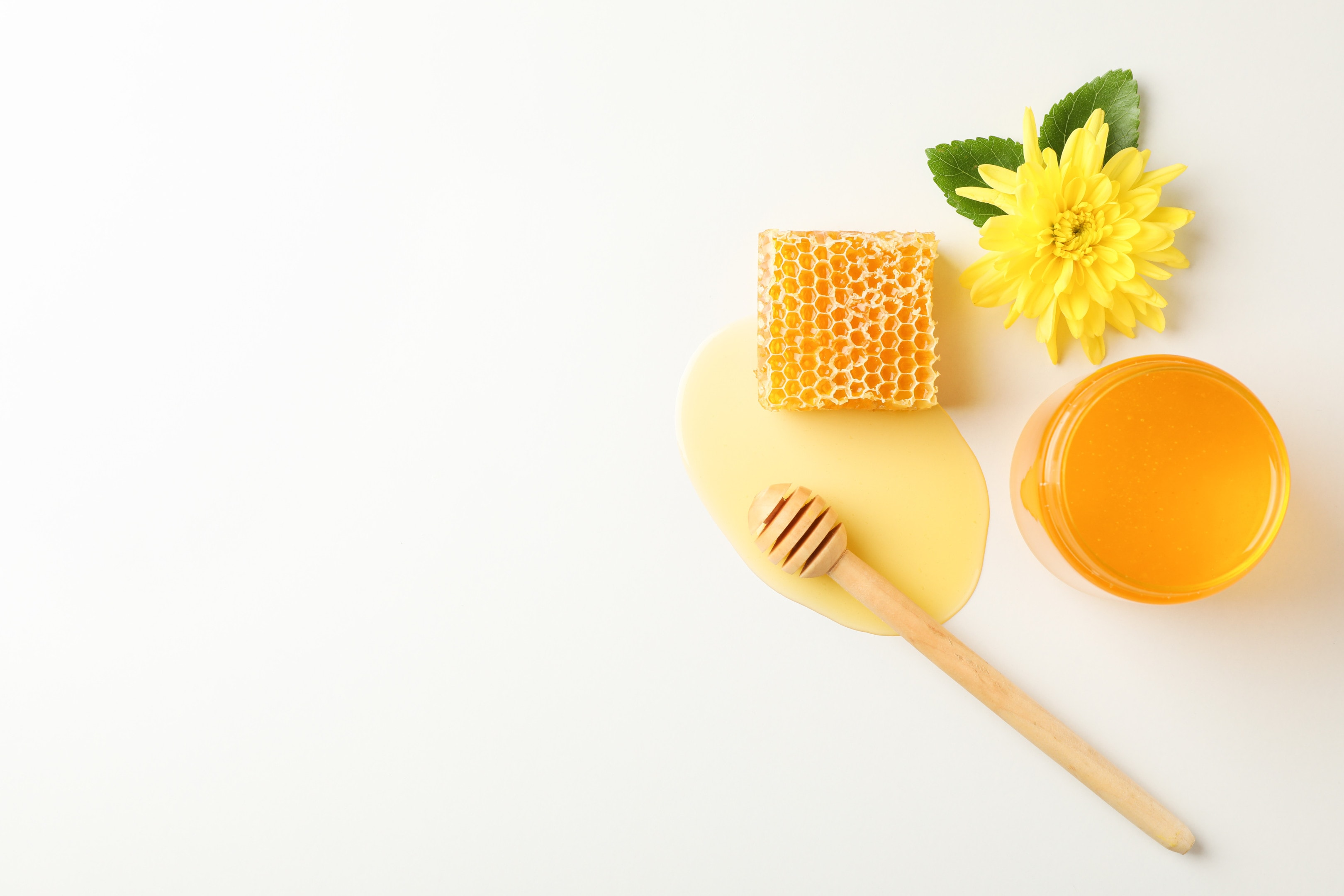 Honeycomb with honey and flower on white table