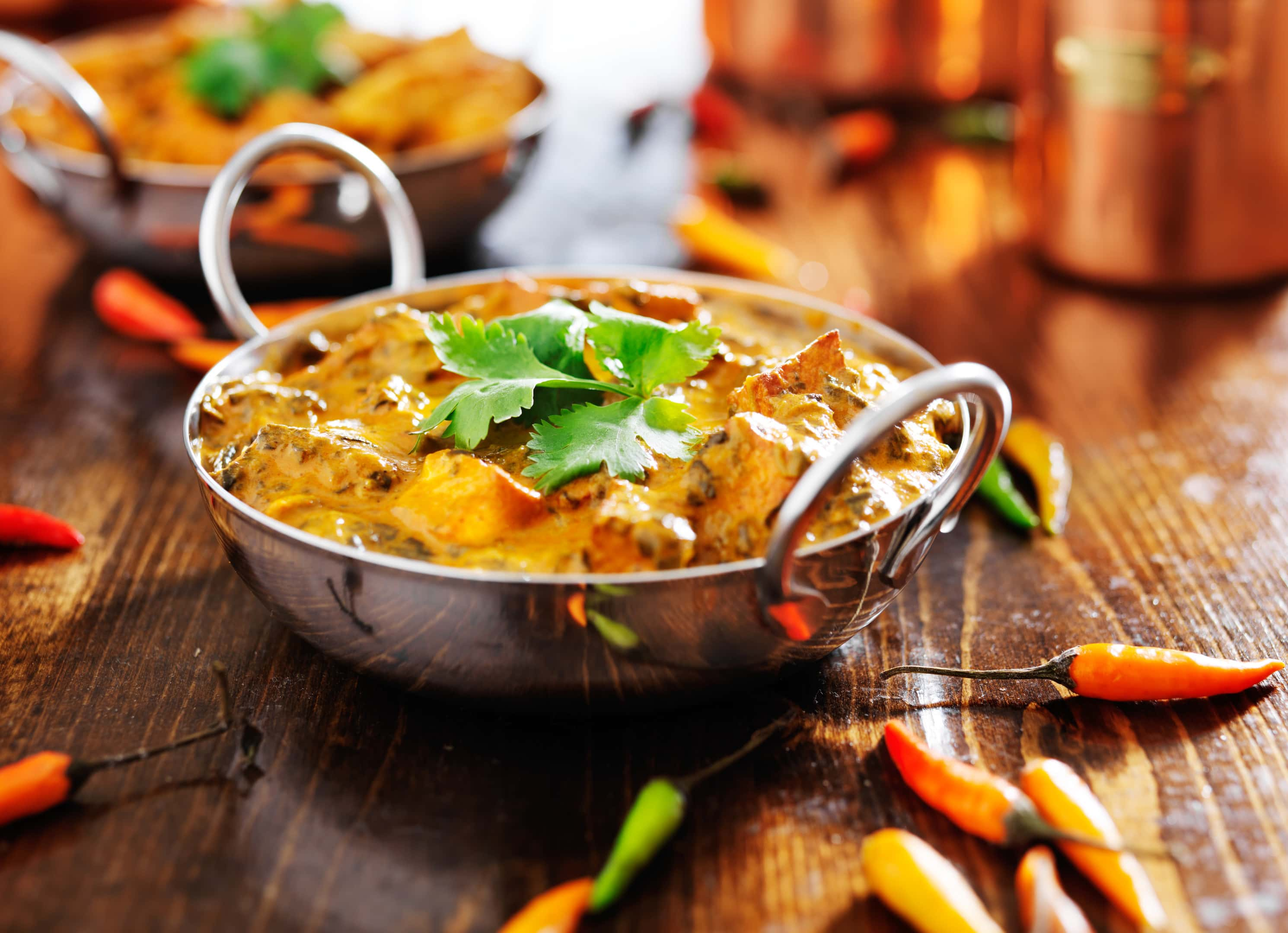 Indian spicy chicken curry balti dish
