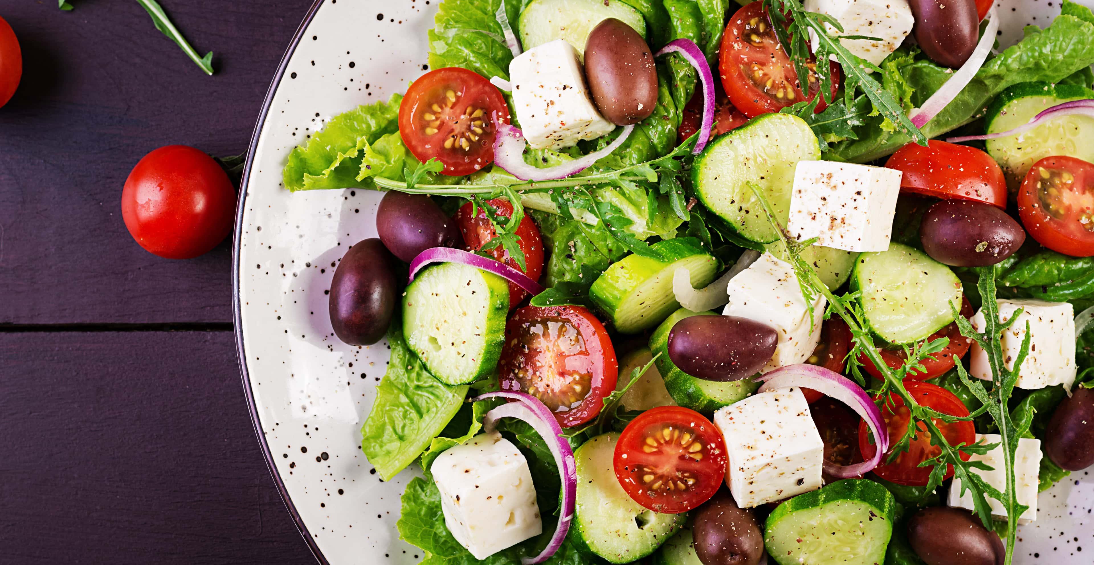Mediterranean diet greek salad with fresh vegetables
