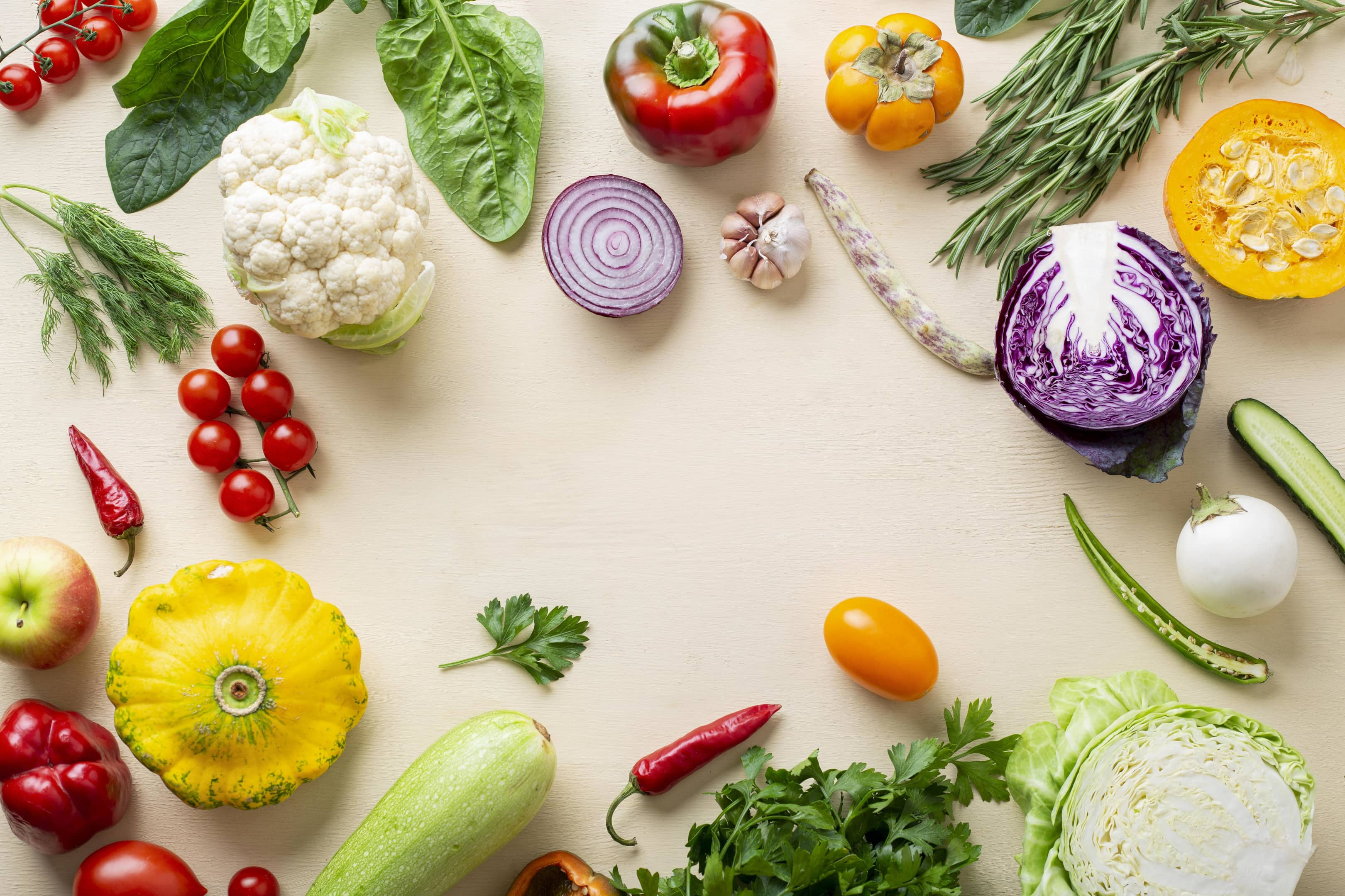 Organic fresh vegetables on white background