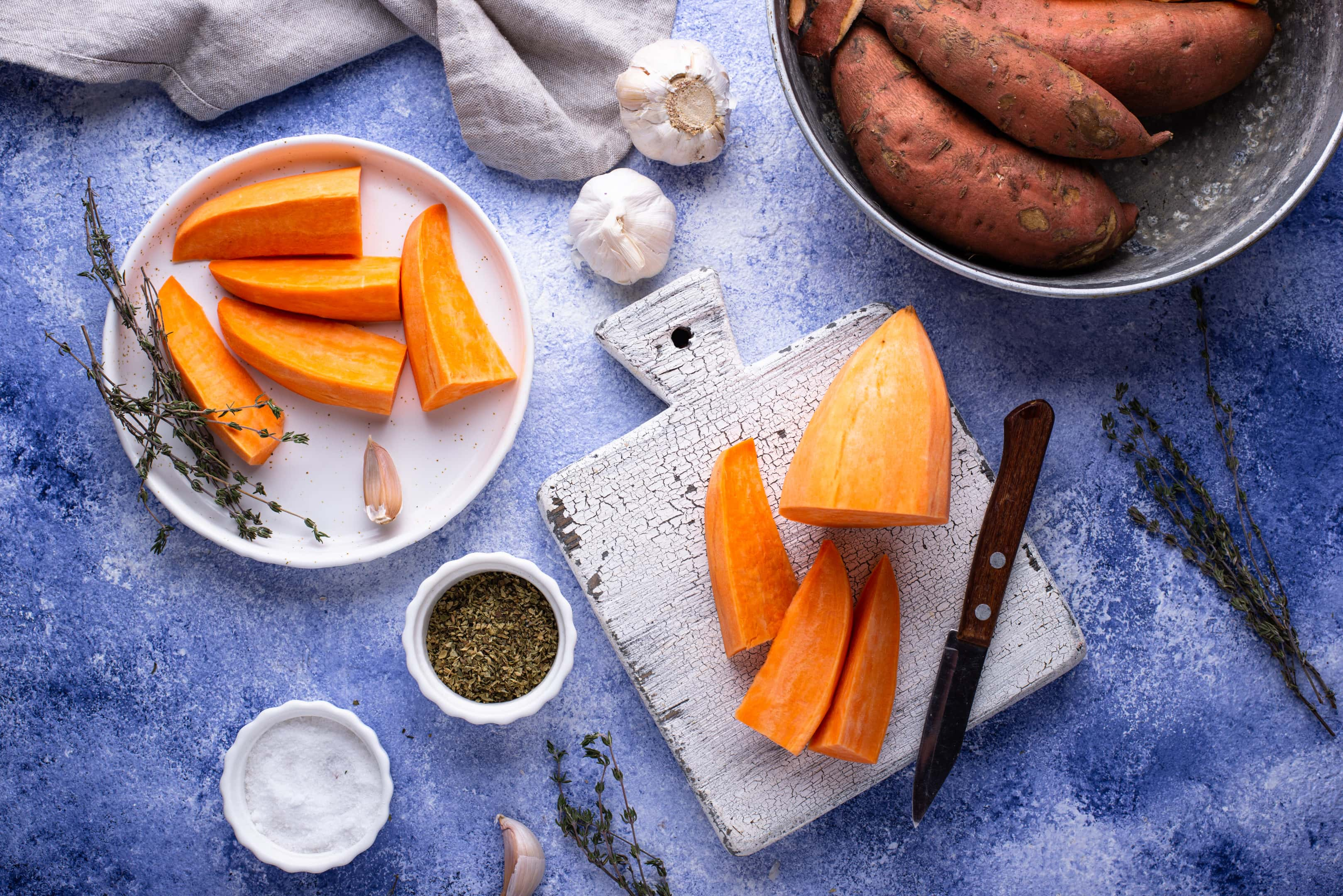 Raw sweet potato with herbs garlic