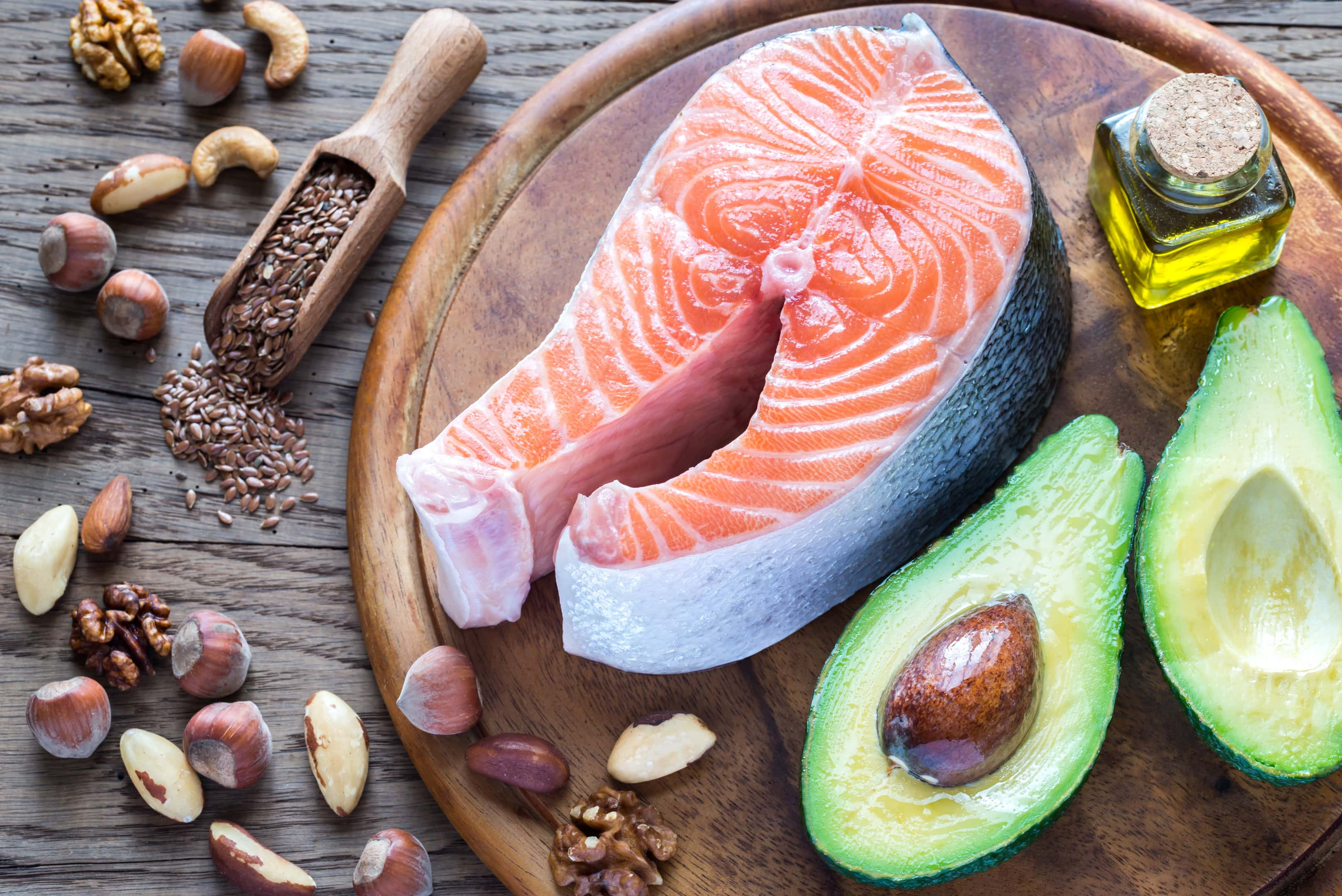 Salmon avocado and flex foods high omega-3 fats