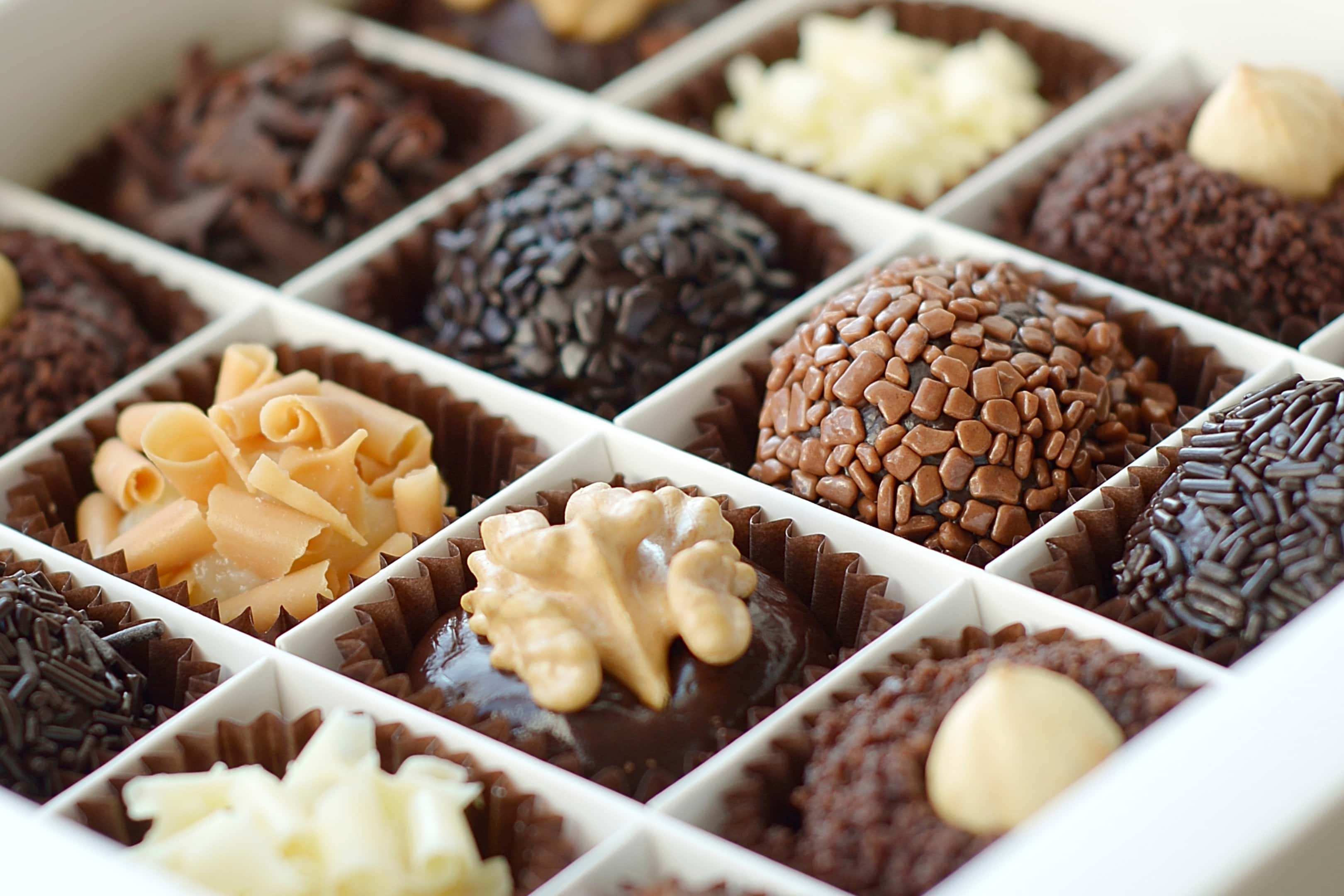 Sweet chocolates box closeup