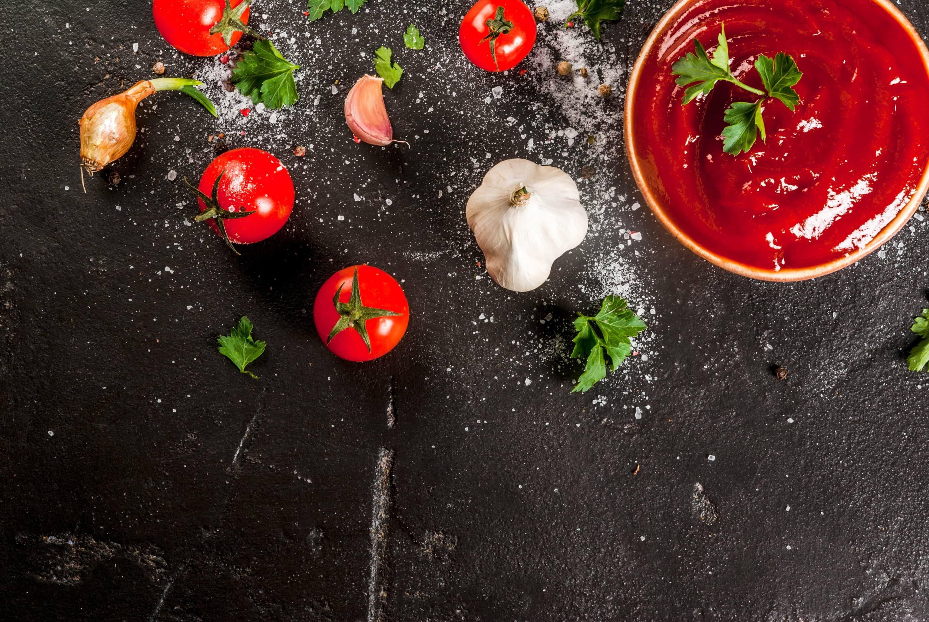 Tomato sauce ketchup with ingredients