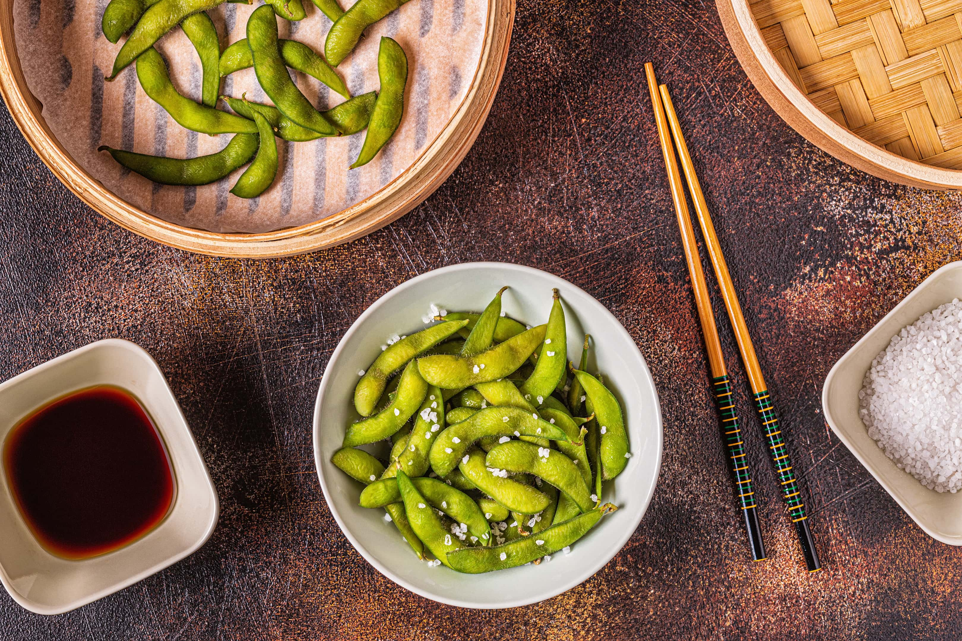 Cooked green edamame with soy sauce
