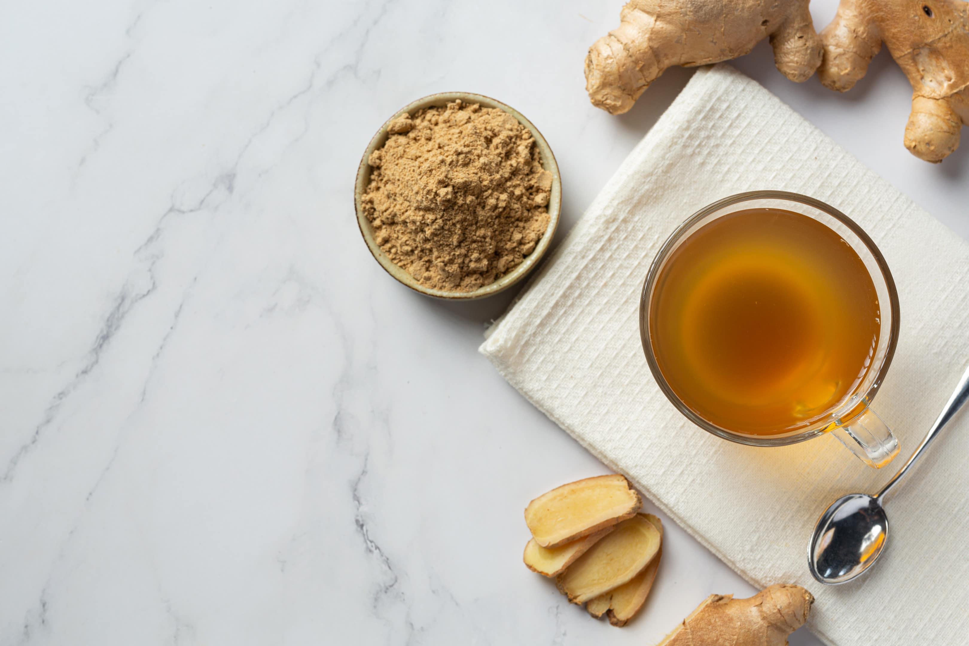 Hot ginger tea with fresh ginger