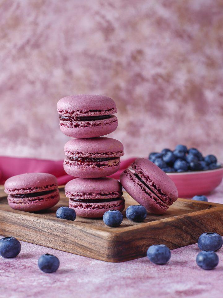 Macadamia flour macaroons with blueberries