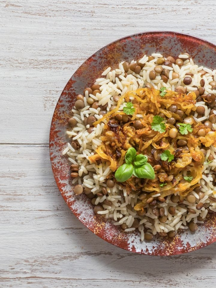 Mujadarra dish with rice lentils and onion