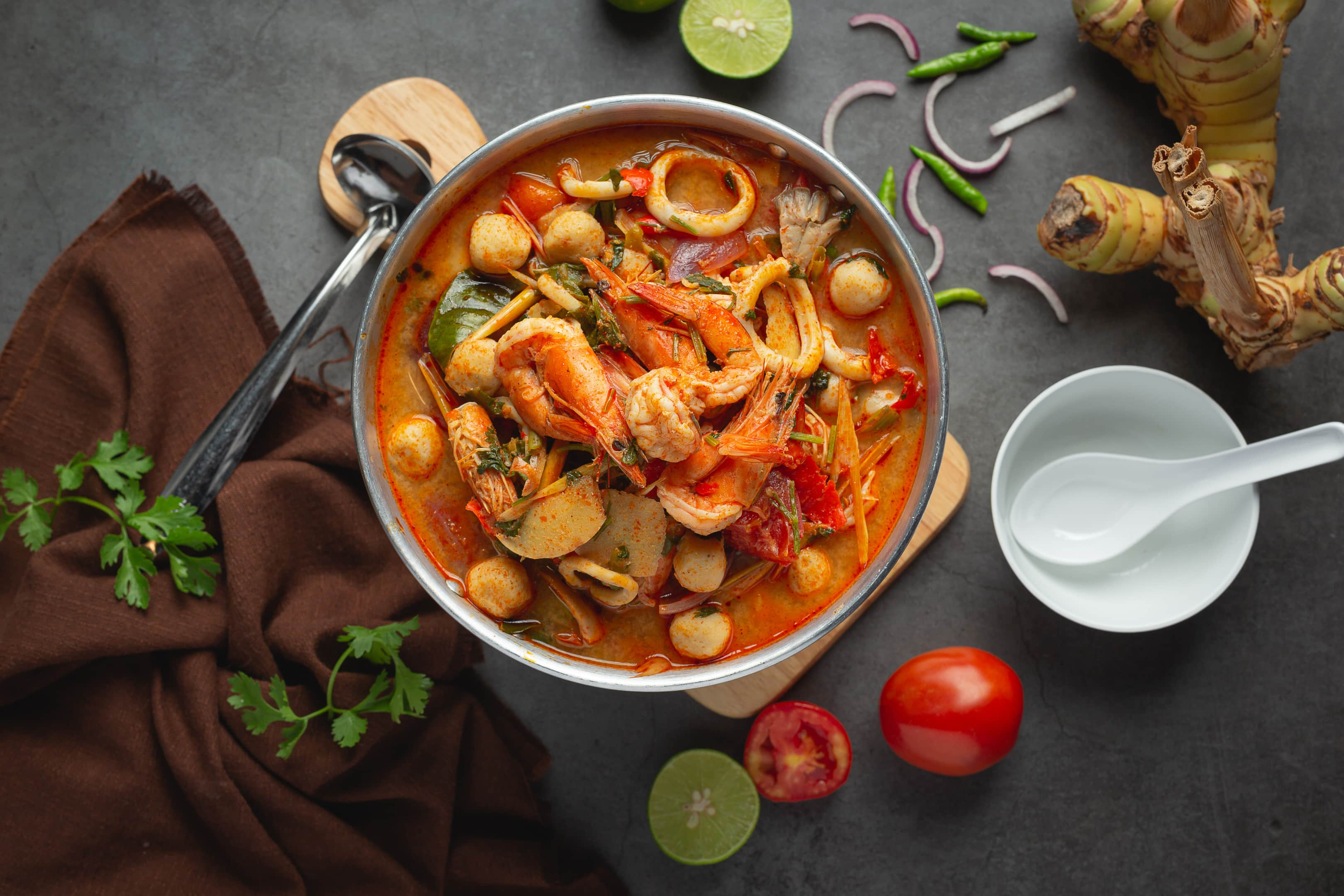 Thai Tom Yum with shrimp and prawns spicy soup