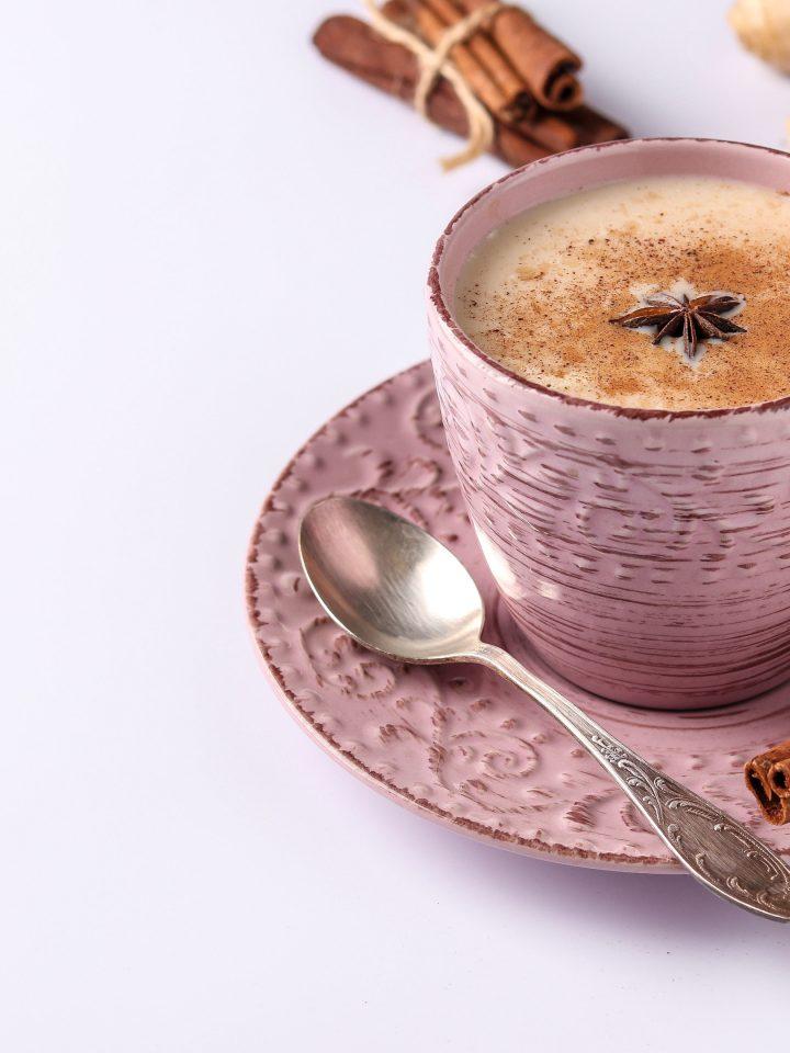 Traditional Indian masala tea with nutmeg